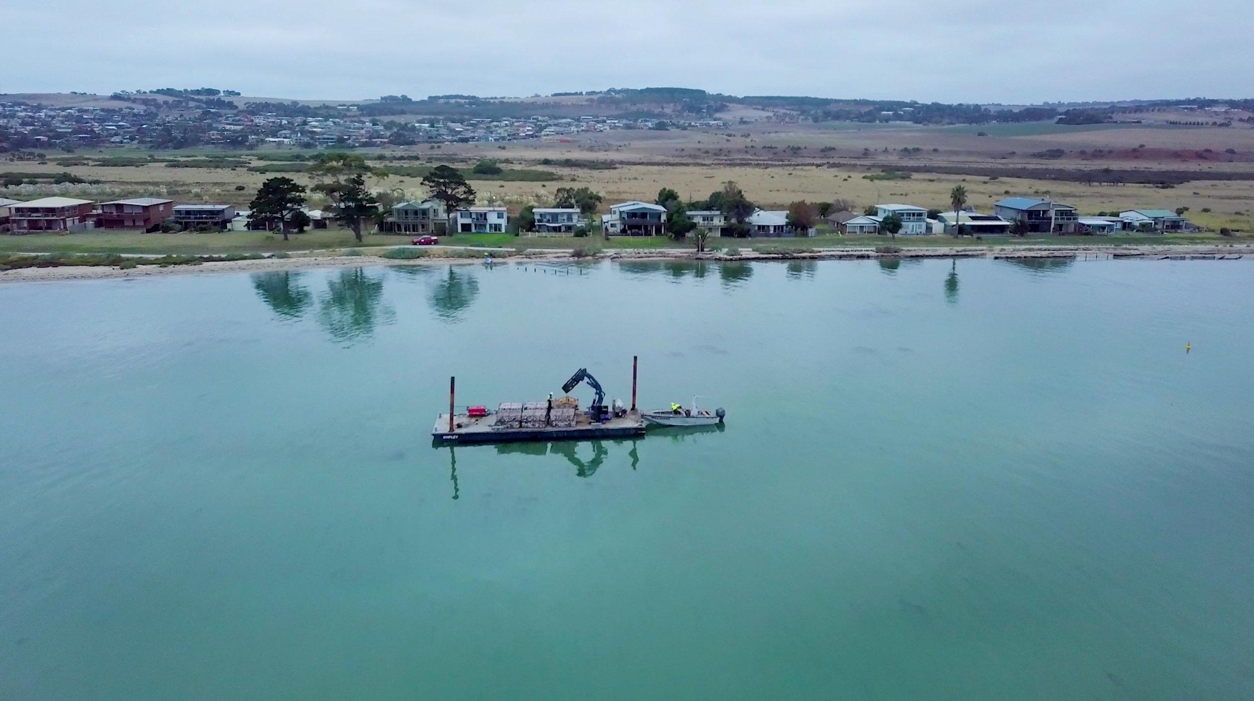 Drone image of reef installation off the coast of Portarlington, Victoria