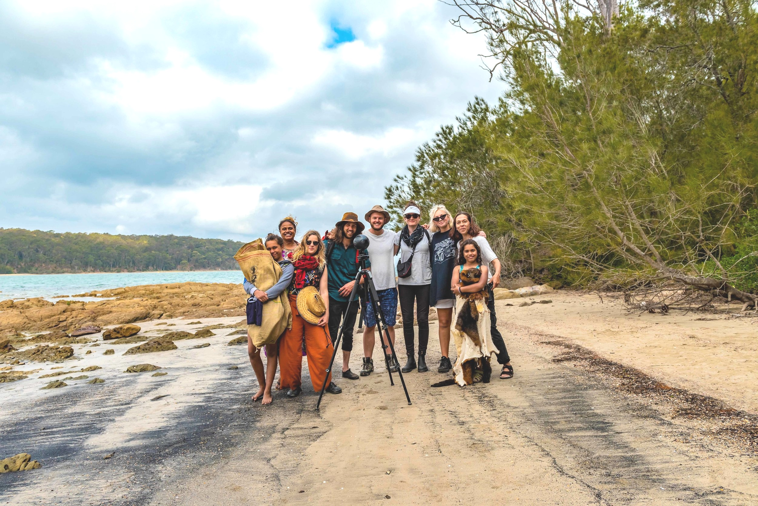 Some of our awesome crew and cast: Nyarru, our Assistant Director Noni Eather, Director Katrina Channells, Photographer Rhett Wyman, Cinematographer Michael Beets, Producer Bridget O'Shea, Production Assistant Bree Wild, Storyteller Vikki Parsley, Bimi.