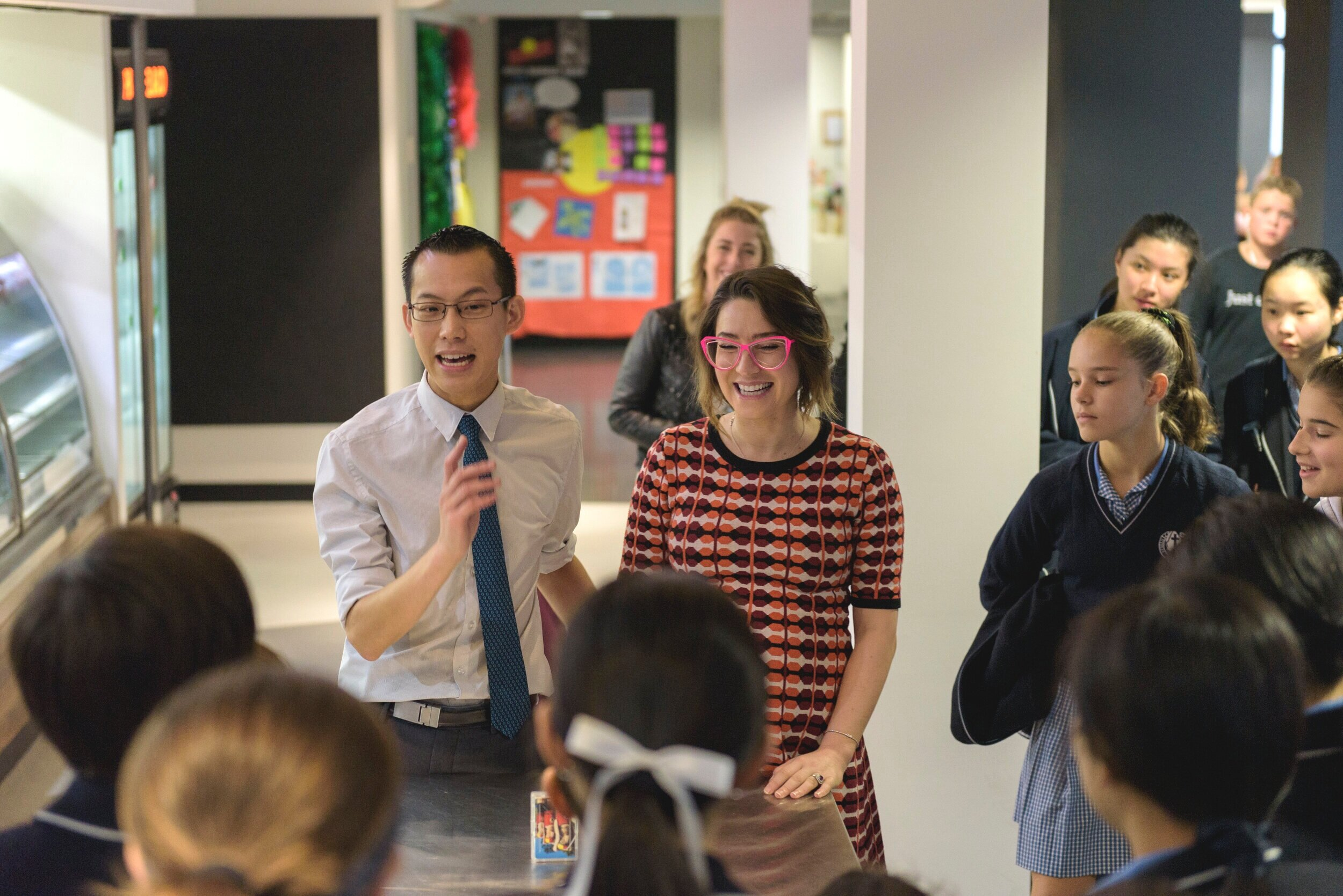 The famous Maths youtuber Eddie Woo and former Masterchef Alice Zaslavsky talking to a room of diehard Eddie Woo fans!