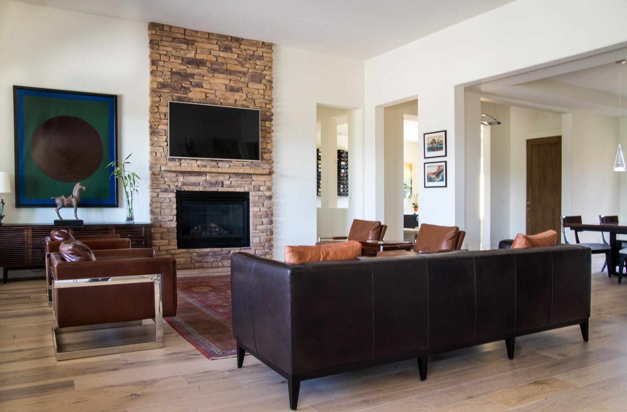 Mount Rose Estates living room renovation and entry design - Reno, Nevada - Kovac Design