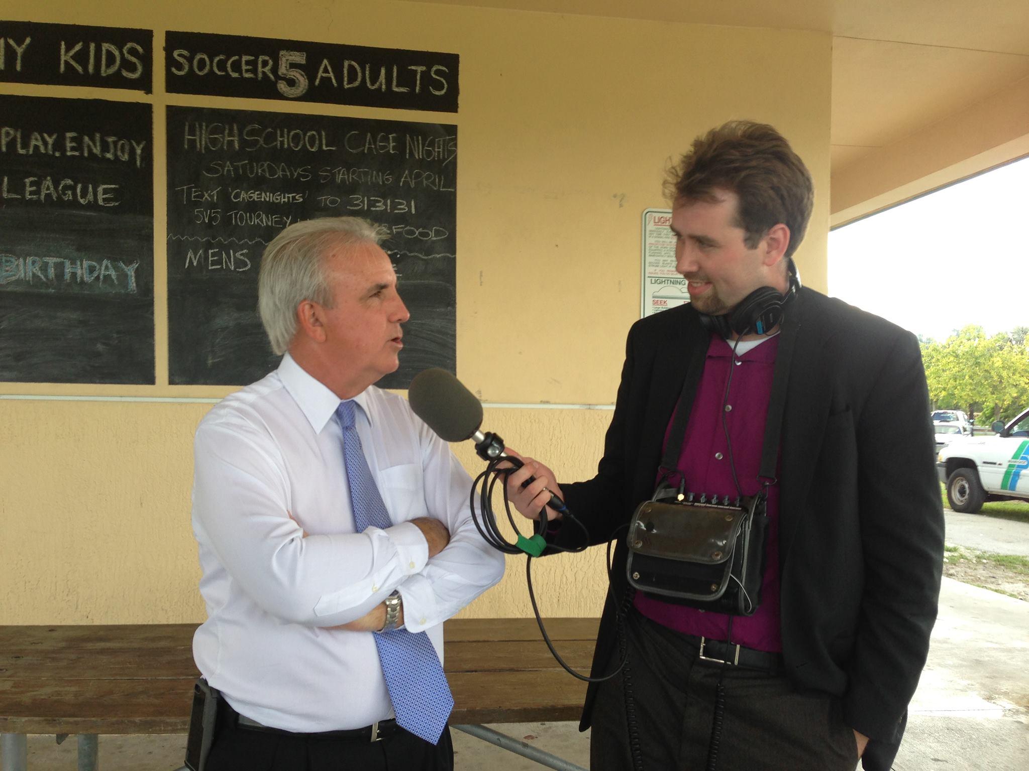 Jesse McQuarters interviewing Miami-Dade Co. Mayor Carlos Gimenez