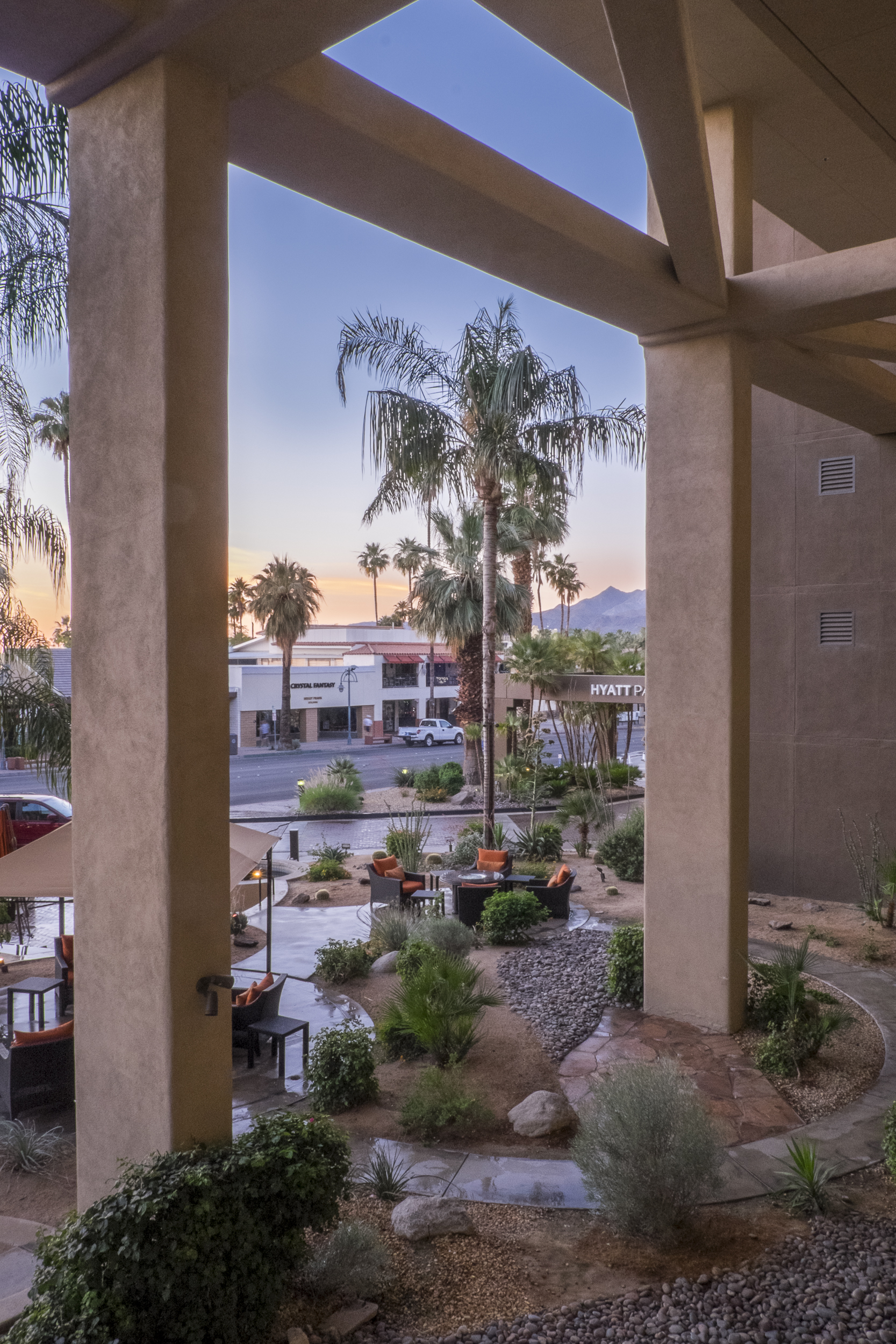 View ot the exterior courtyard of the Hyatt Place Hotel, Palm Springs, CA, USA Copyright © Kipp Baker, All rights reserved.