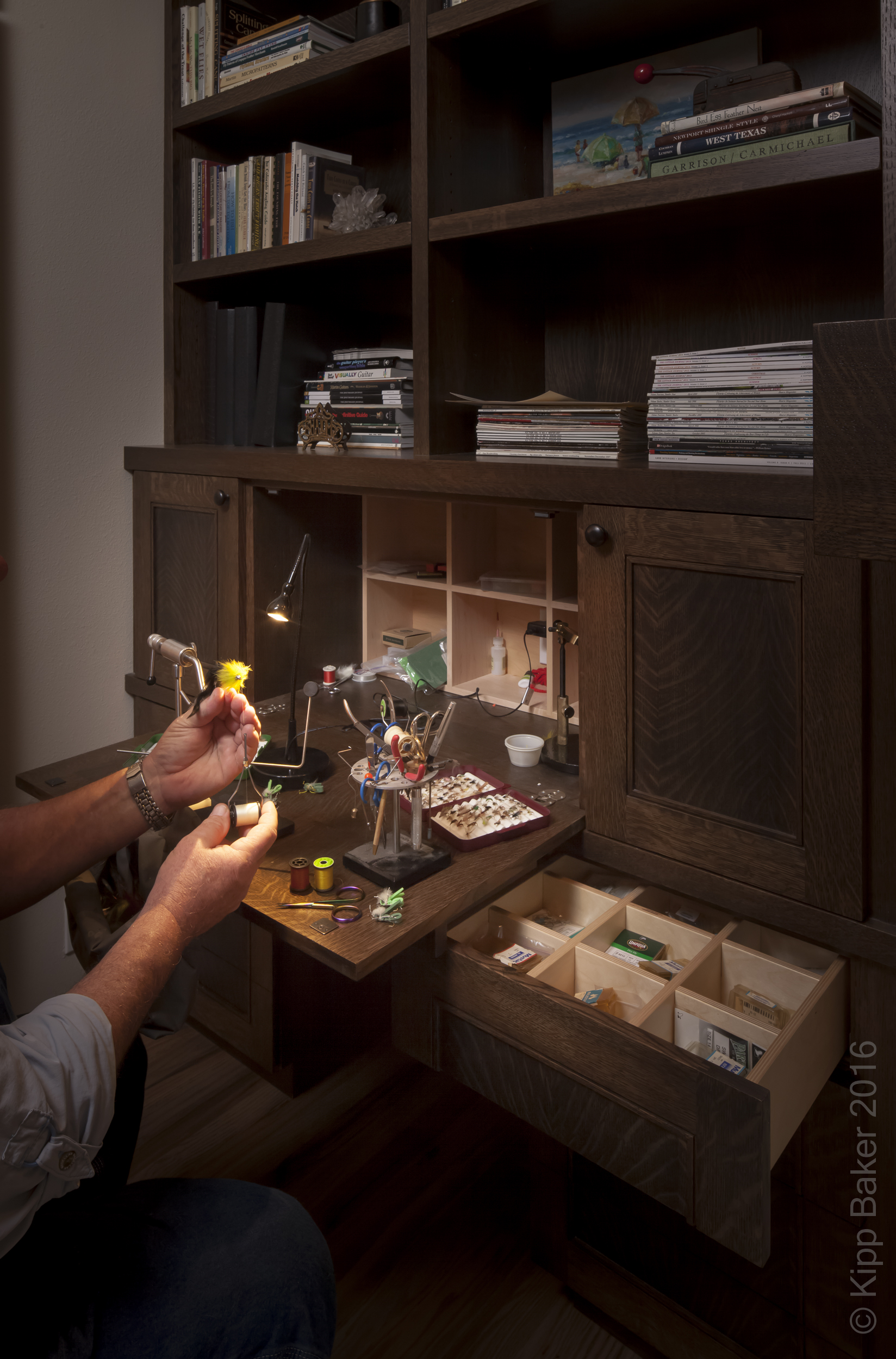 Fly-tying Station and Built-in Bookcase