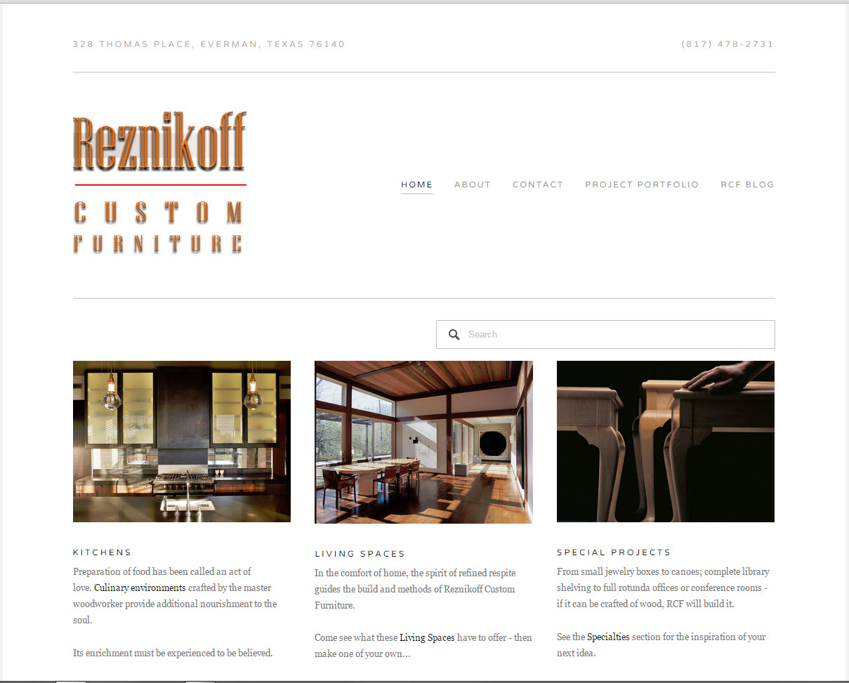 Reznikoff Custom Furniture Home page