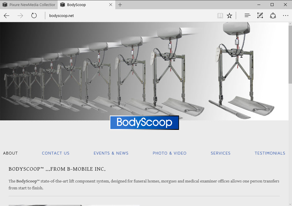 B odyScoop home page  NOTE: As of March 2019, BodyScoop.net was sold and has been absorbed into another company that did not continue the website as shown.