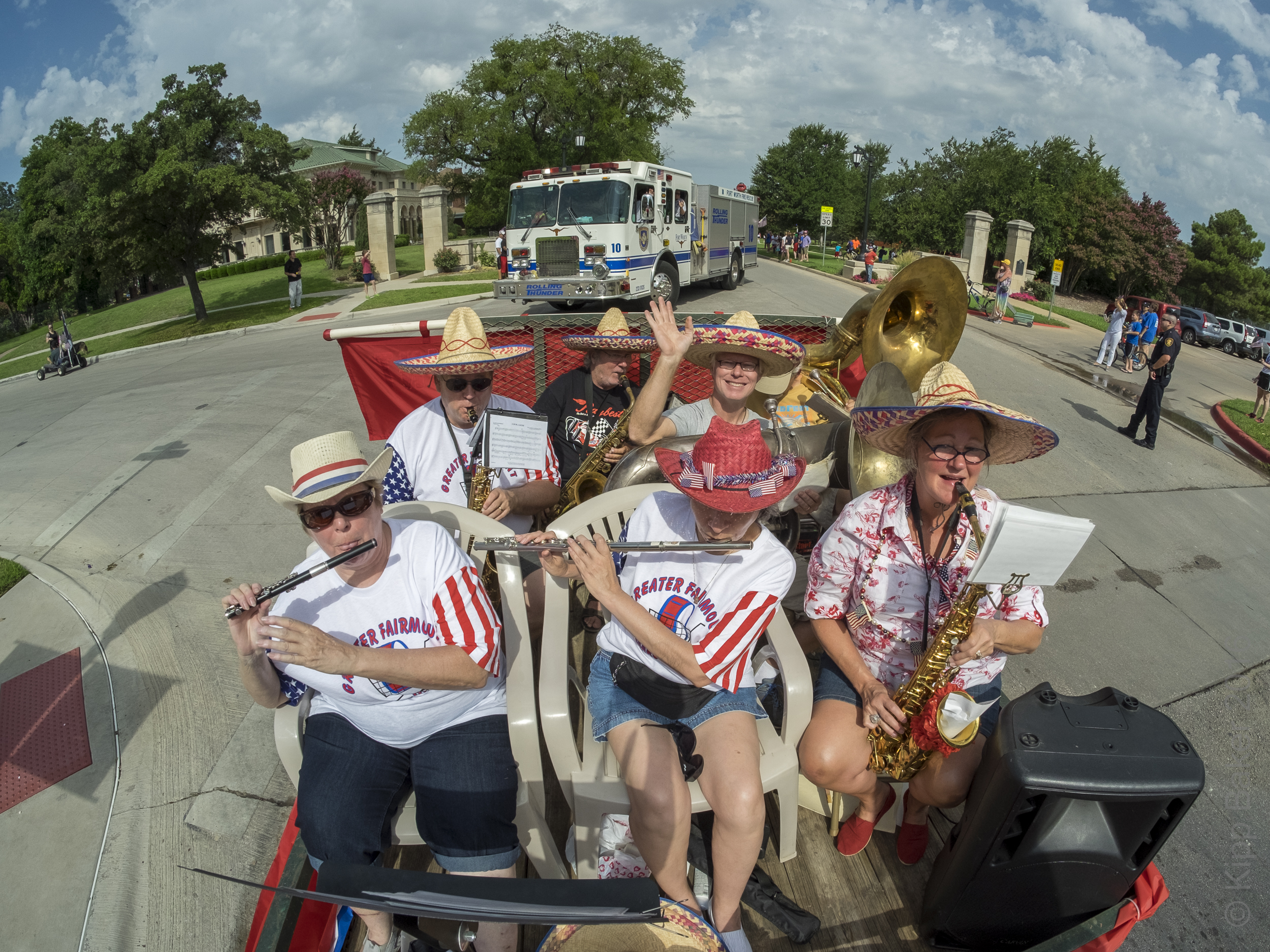 Musicians celebrate July 4th in Ryan Place Parade Copyright © Kipp Baker, All rights reserved.
