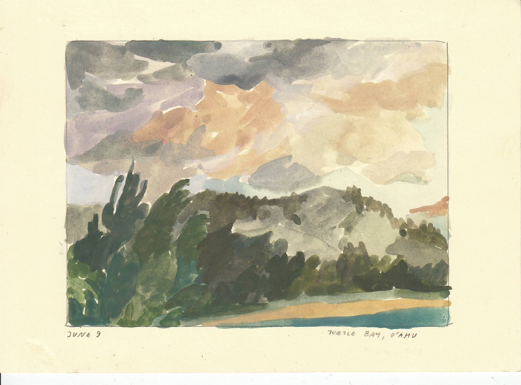 Kahuku Point. watercolor by Aidan Koch.