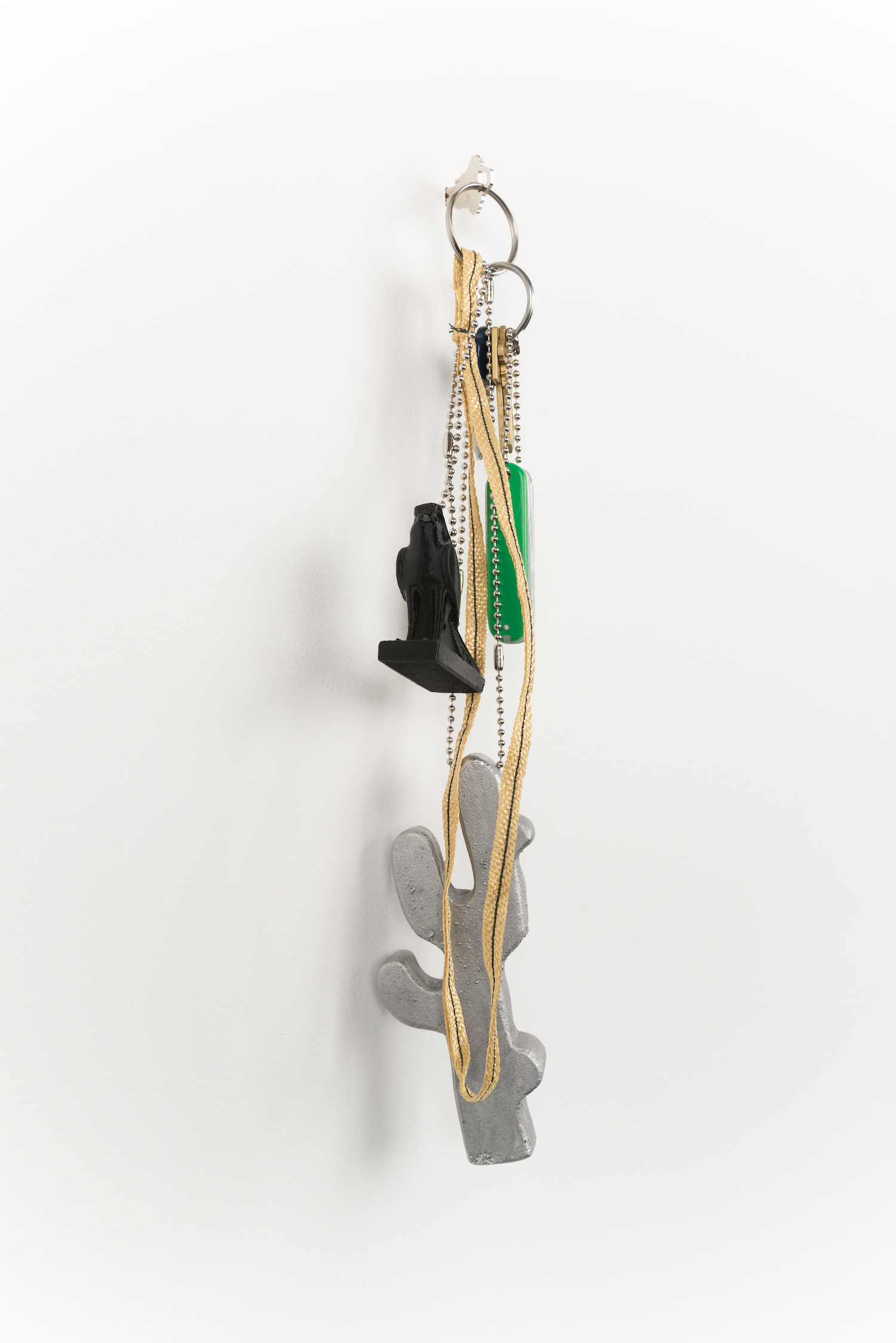 Chris Bradley  Token (Cactus)  2013 Cast aluminum, wood, PLA, Kevlar, key rings, chain 17h x 4w x 3d in CB054