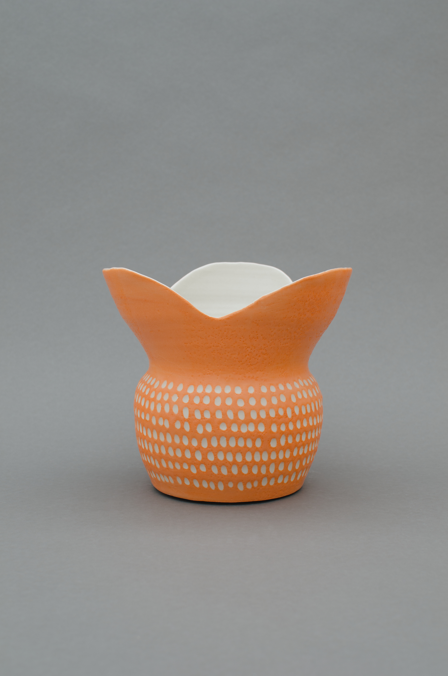 Shio Kusaka  Untitled (orange 8)  2013 Porcelain 7 ½h x 7 ⅞w x 7 ⅞d in SK400