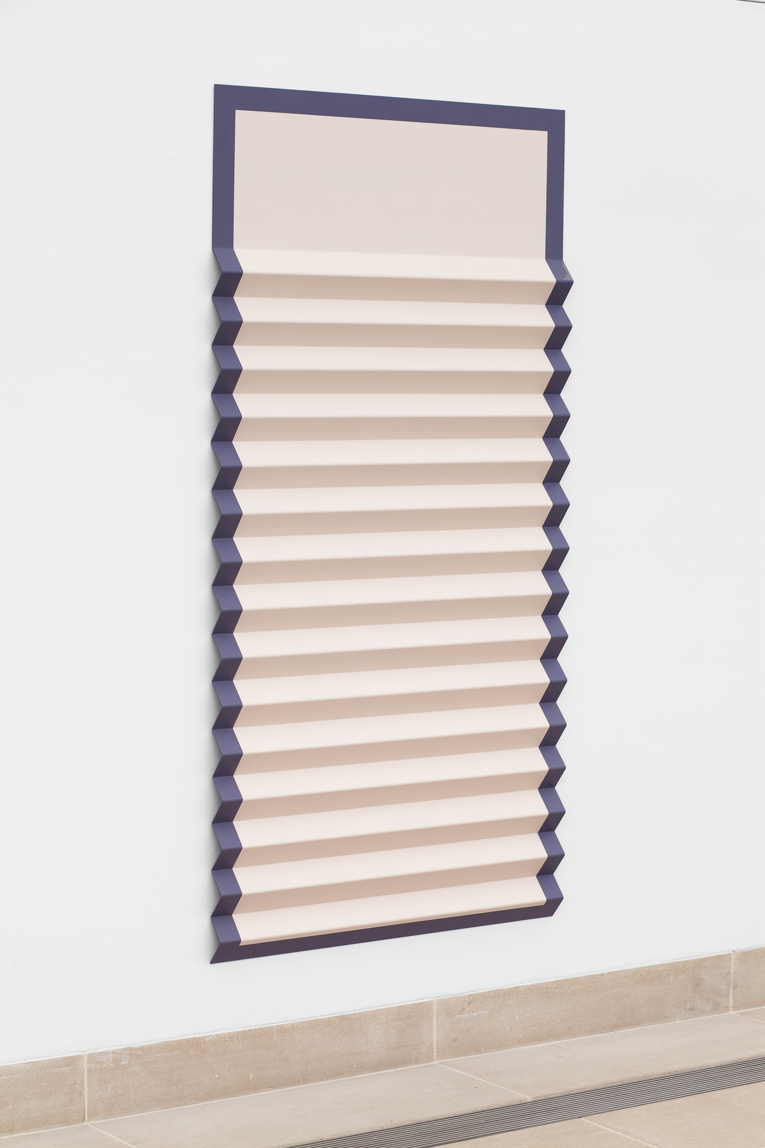 Lisa Williamson  Bed Shade with Margins  2012 Acrylic and graphite transfer on powder-coated aluminum 72h x 36w x 2d in LW097