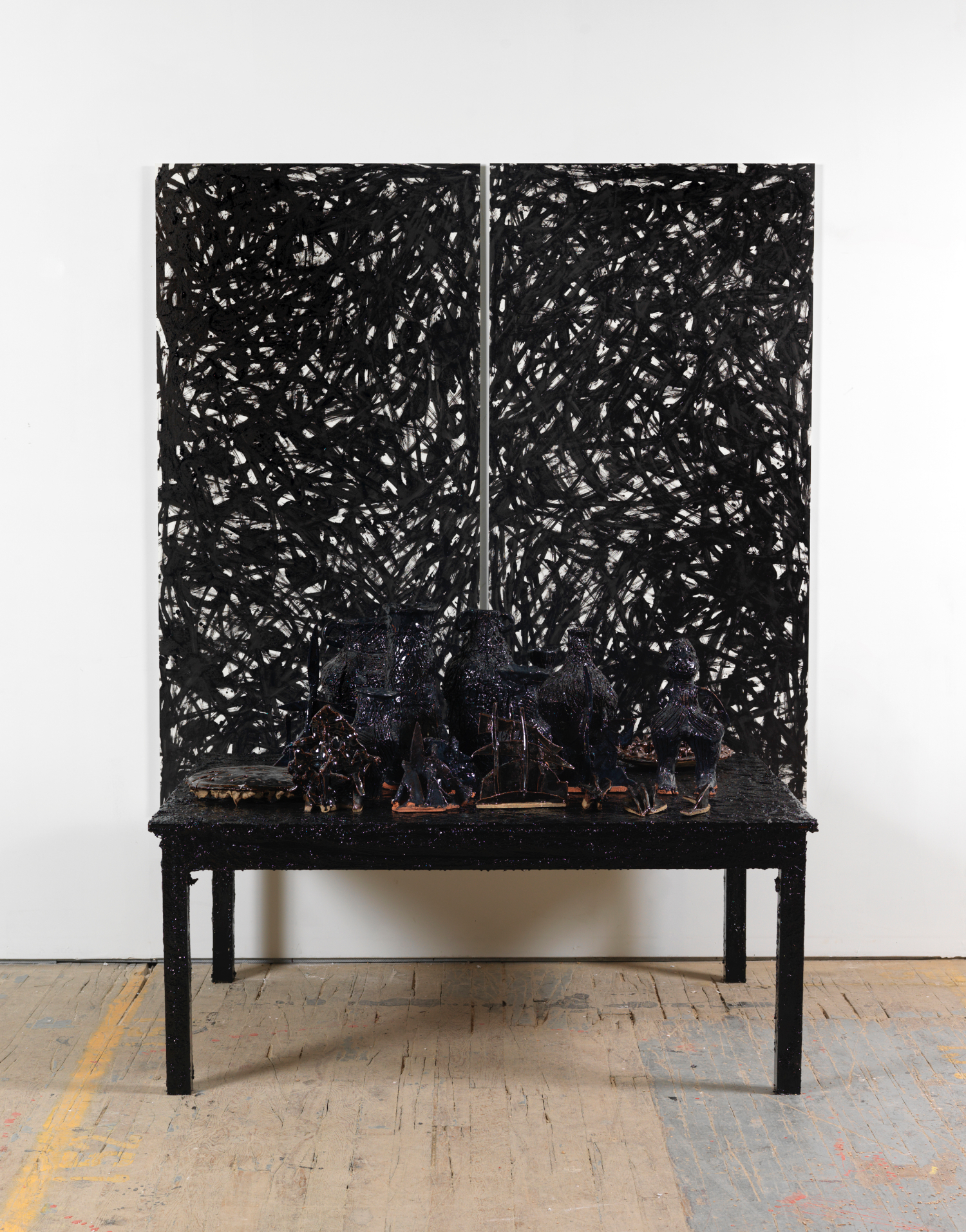 William J. O'Brien  Untitled  2008 Glazed ceramic, enamel, plaster, table, and ink on paper 88 ½h x 72 ½w x 55d in WOB416_2