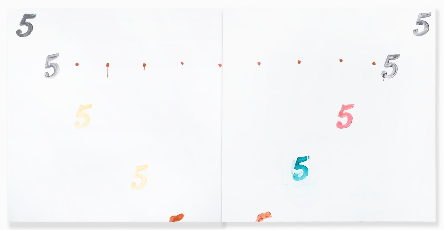 Shimon Minamikawa  Five Five and Five Five  2014 Acrylic on canvas 46 ¹⁄₁₂h x 92 ¹⁄₁₂w in SMin012