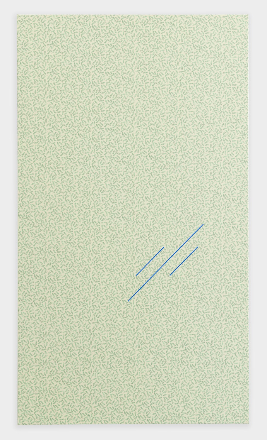 Paul Cowan  BCEAUSE THE SKY IS BULE  2013 Chroma-key blue paint on fabric 72h x 41w in PC076