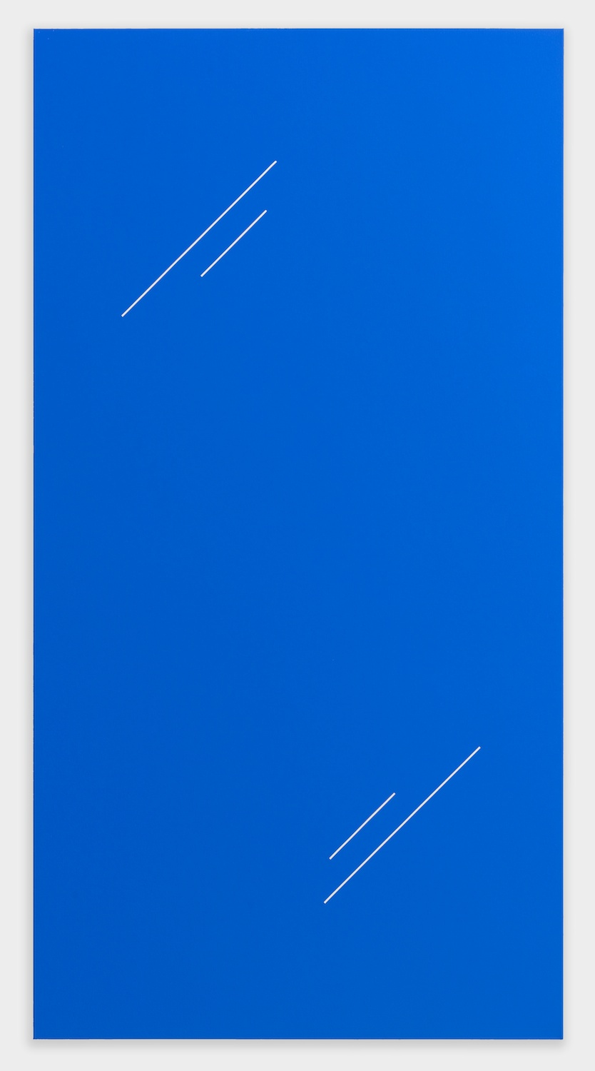 Paul Cowan  BCEAUSE THE SKY IS BULE  2013 Chroma-key Blue Paint On Canvas 78h x 41w in PC080