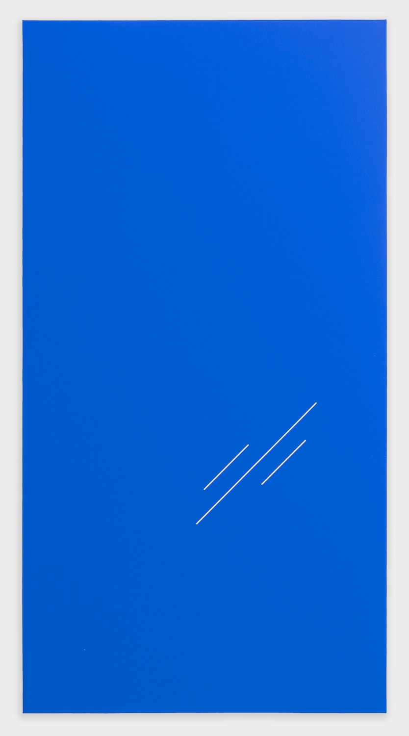 Paul Cowan  BCEAUSE THE SKY IS BULE  2013 Chroma-key Blue Paint On Canvas 78h x 41w in PC079