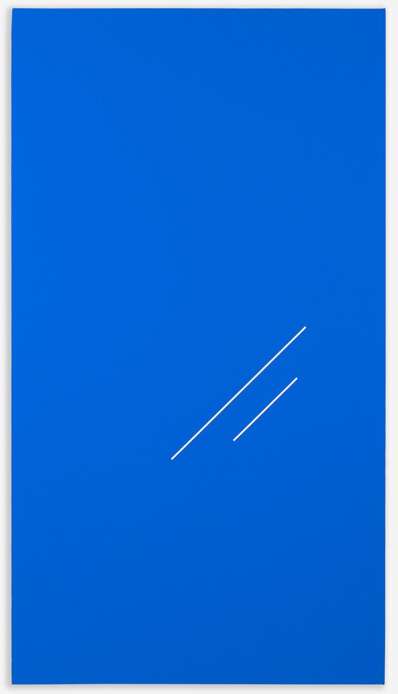 Paul Cowan  BCEAUSE THE SKY IS BULE   2013 Chroma-key blue paint on canvas  48h x 26w  PC094