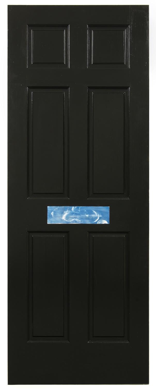 Dan Rees  High Tea (Sushi)  2013 Latex paint and cyanotype on wood door 80h x 30w in DR006
