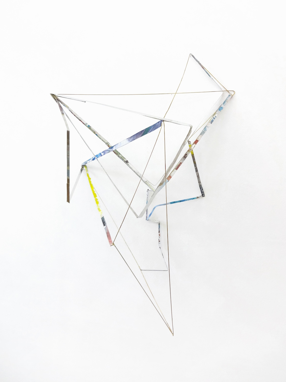 Sara Barker  Composition with furling symphonia  2013 Brass and steel rod, aluminum sheet, gold powder, gouache, watercolor, metal primer, filler 42 ½h x 28 ⅓w x 15 ¾d in SB001
