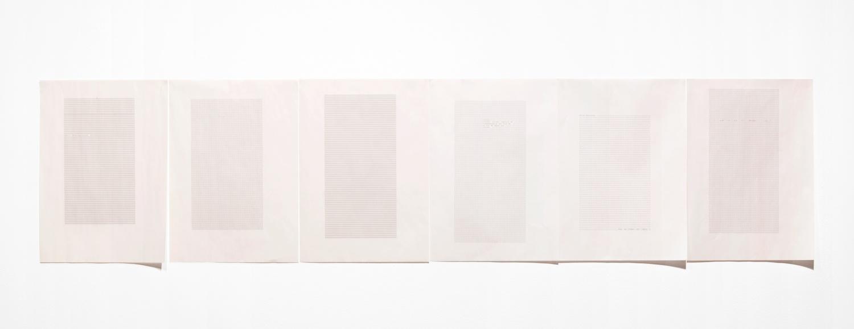 Sue Tompkins  ran  2012 Typewritten text on newsprint, 6 parts 16 ½h x 11 ¾w in ST013