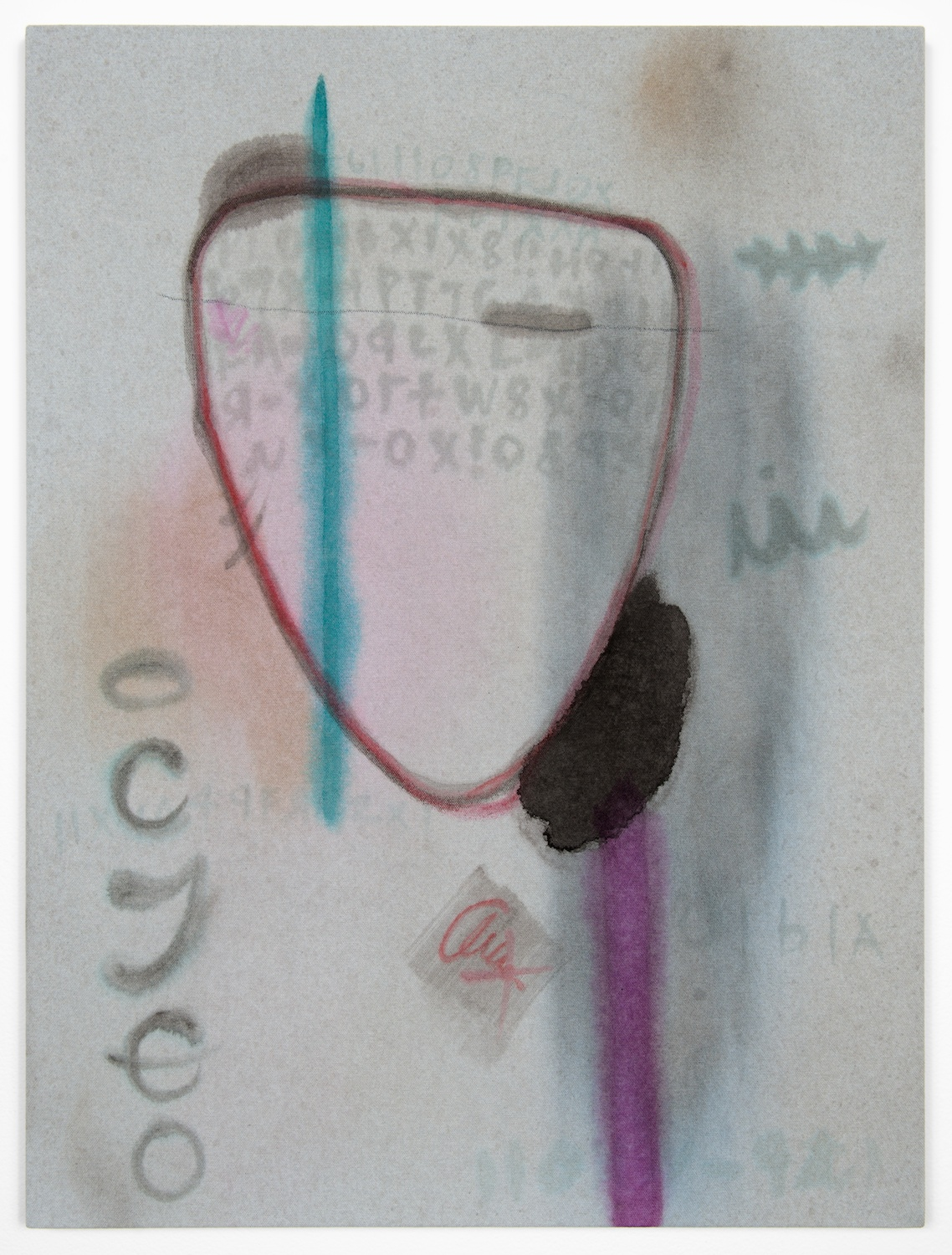 Amanda Ross-Ho  Untitled Painting (AMERICAN IDIOT)  2013 Acrylic and oil pastel on dyed canvas 24h x 18w in ARH038