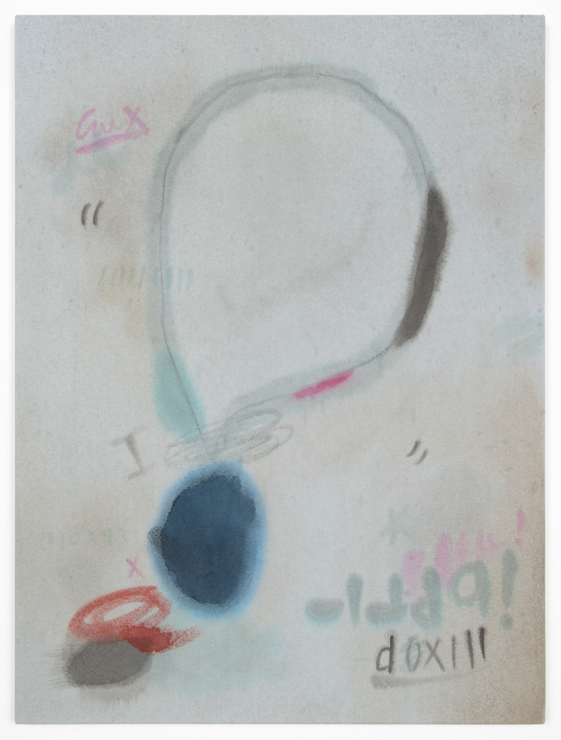 Amanda Ross-Ho  Untitled Painting (CRADLE OF FILTH)  2013 Acrylic and oil pastel on dyed canvas 24h x 18w in ARH041
