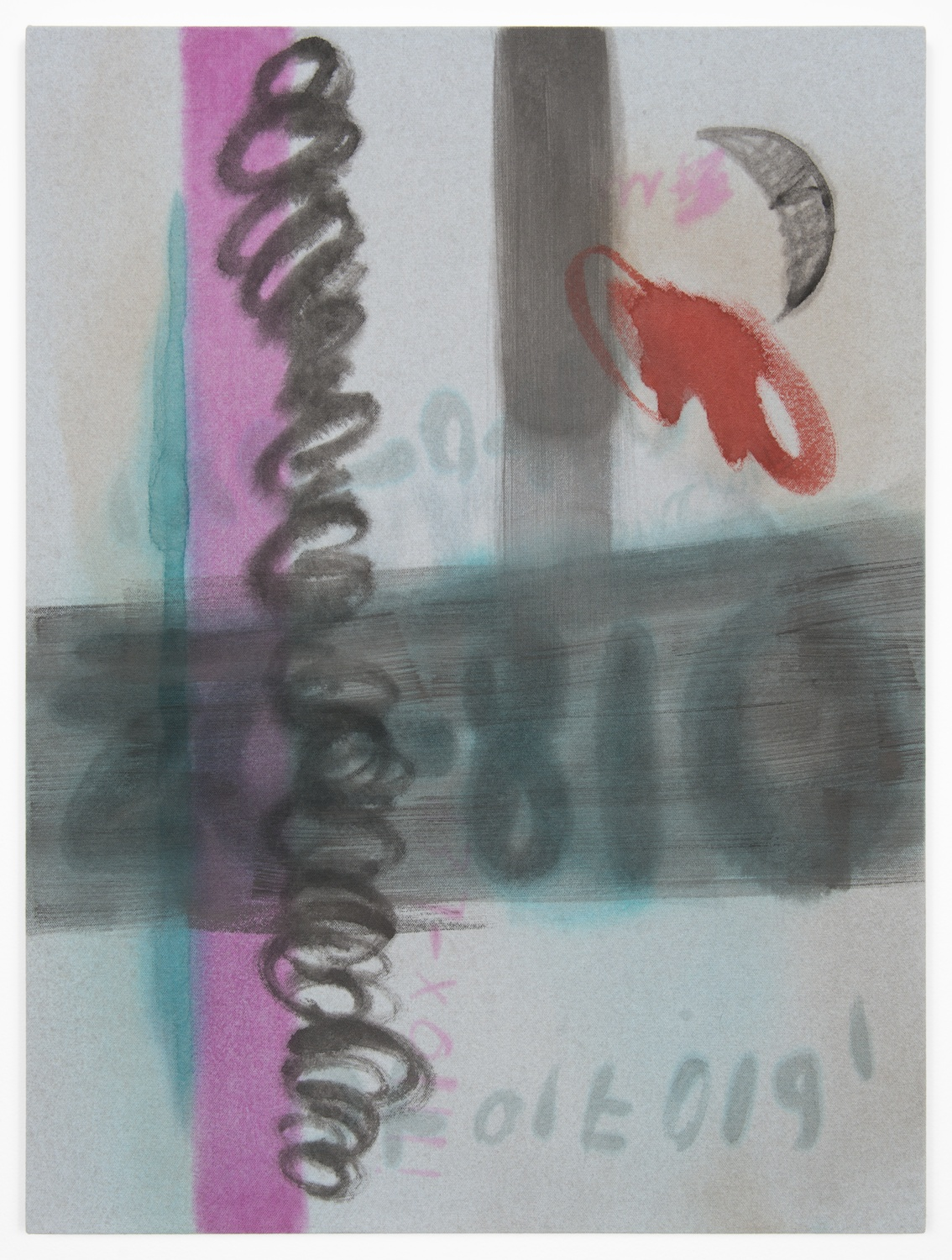 Amanda Ross-Ho  Untitled Painting (ANARKY)  2013 Acrylic on dyed canvas 24h x 18w in ARH042