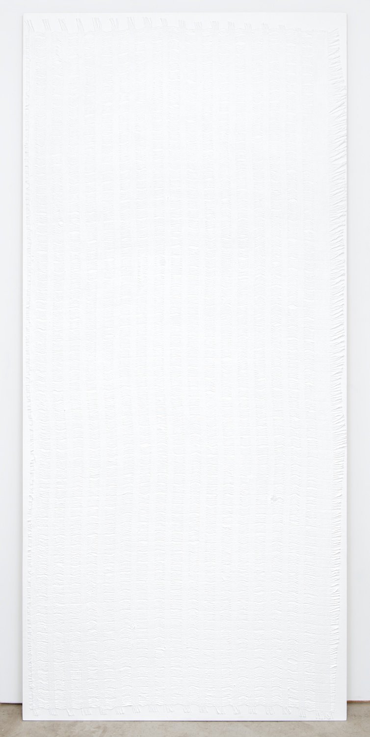 Michelle Grabner  Untitled  2013 Gesso and burlap on panel 90h x 48w in MGrab383