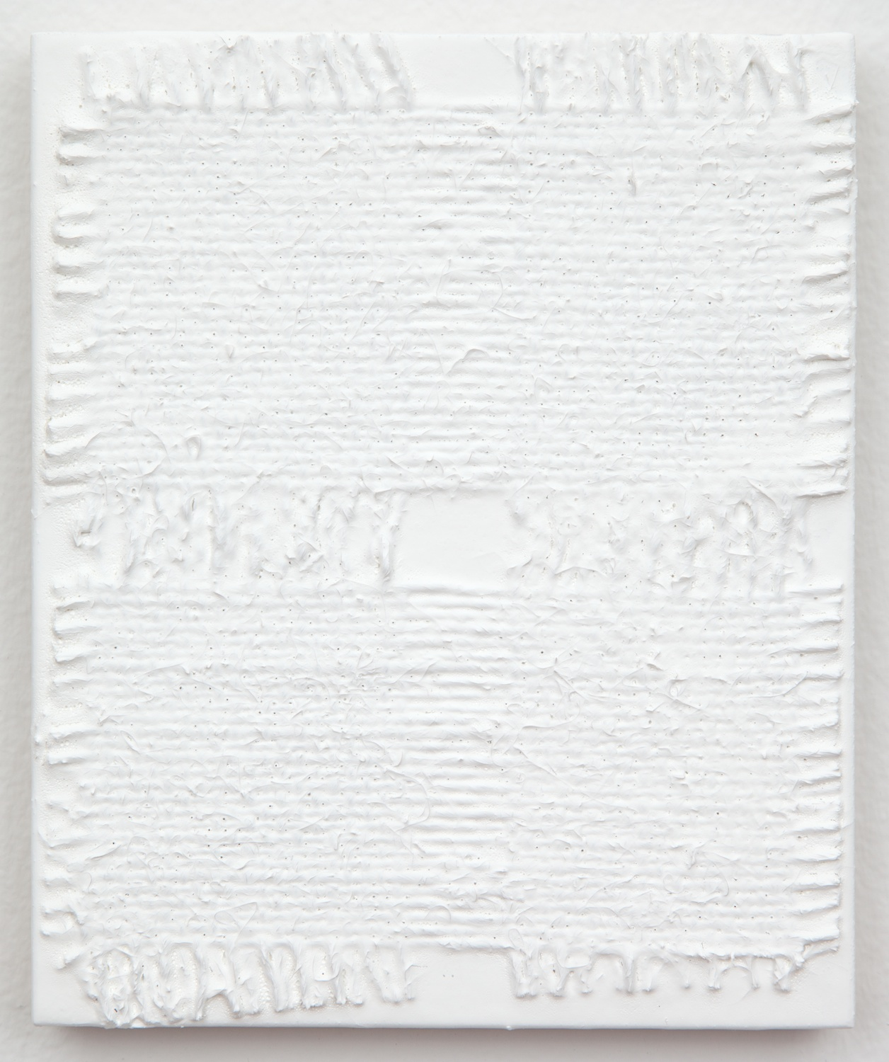 Michelle Grabner  Untitled  2013 Burlap and gesso on panel 6h x 5w in MGrab364