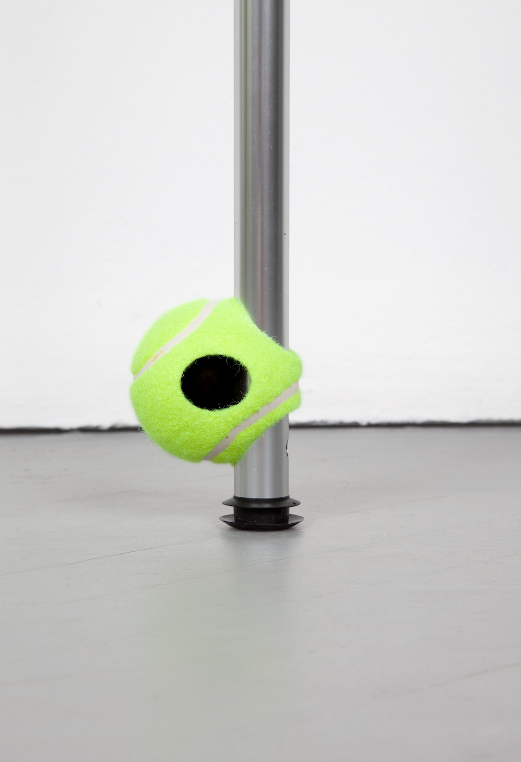 Chadwick Rantanen  Telescopic Pole (Three Hole EZ Glide / Never GIve Up / 03)  (Detail) 2012 Powdercoated aluminum, plastic, walkerballs 300h x 1 ½w in  CR028
