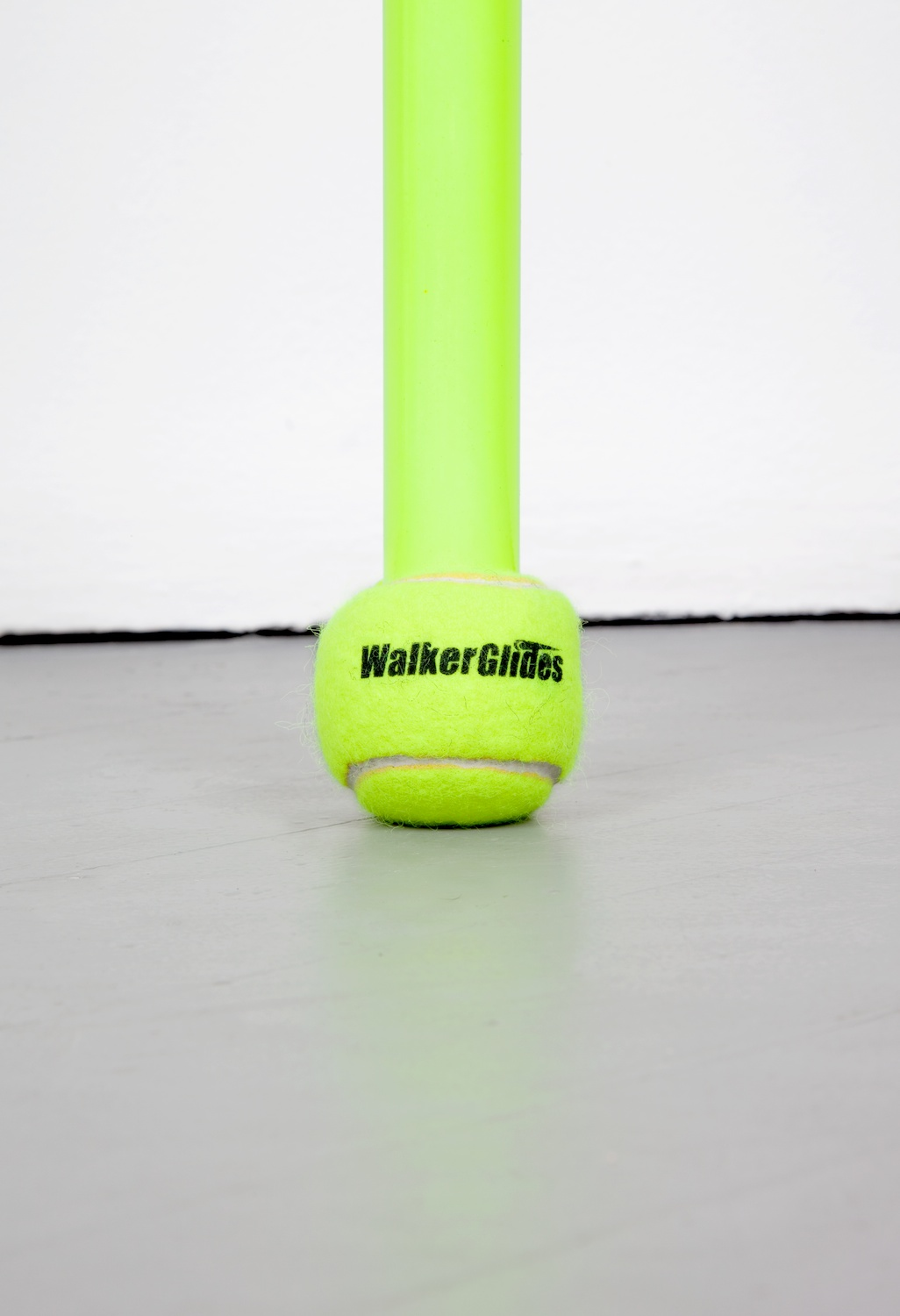 Chadwick Rantanen  Telescopic Pole (BallGlides / Fluorescent Yellow / 02)  (Detail) 2012 Powdercoated aluminum, plastic, walkerballs 282h x 1 ½w in CR030