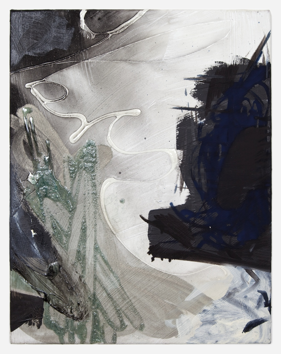 Suzanne McClelland  Black and Blue Sigh (#2)  2002 - 2012 Polymer and oil on canvas 20h x 16w in  SM155