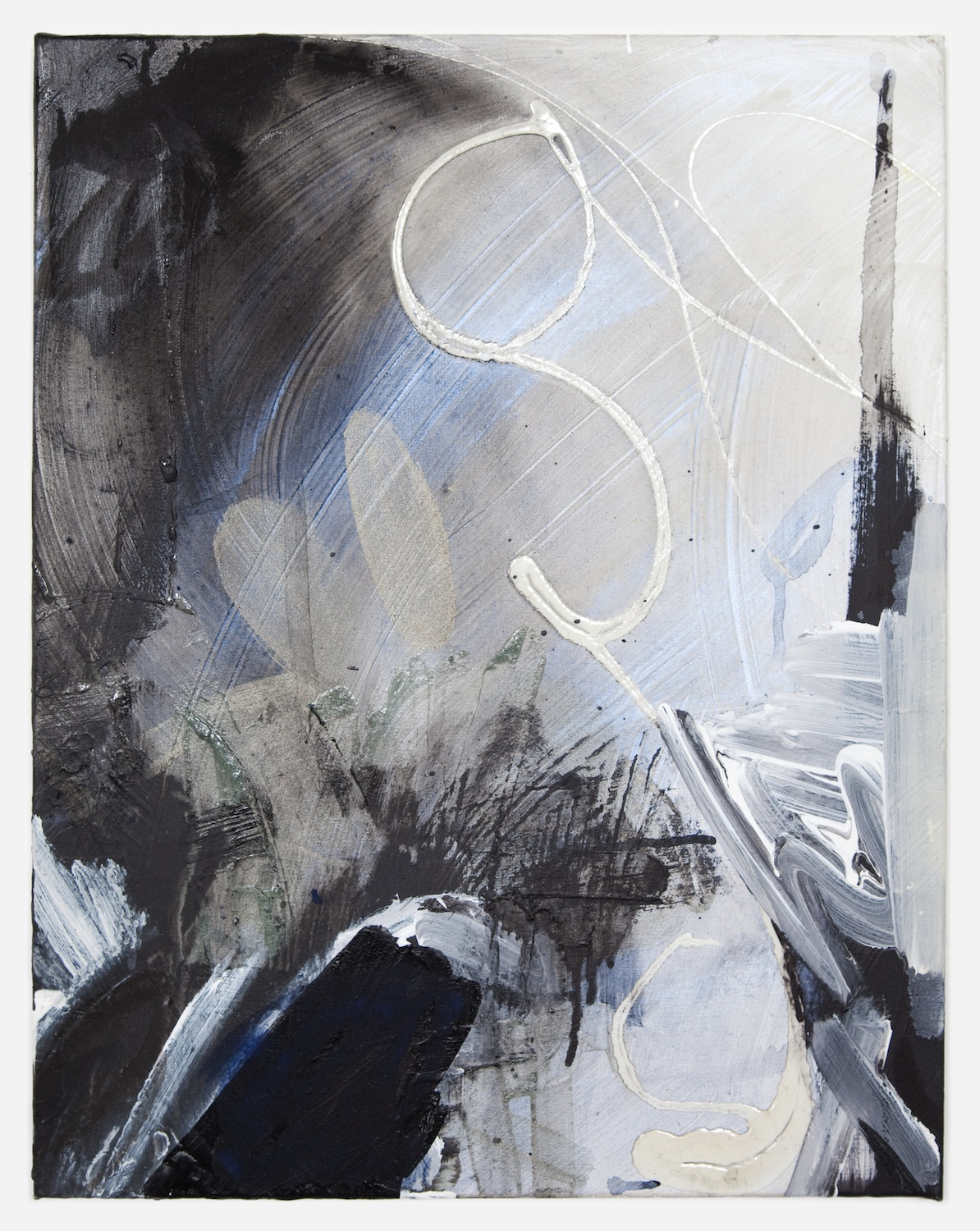 Suzanne McClelland  Black Sigh (#3)  2002 - 2012 Polymer and oil on canvas 20h x 16w in  SM156
