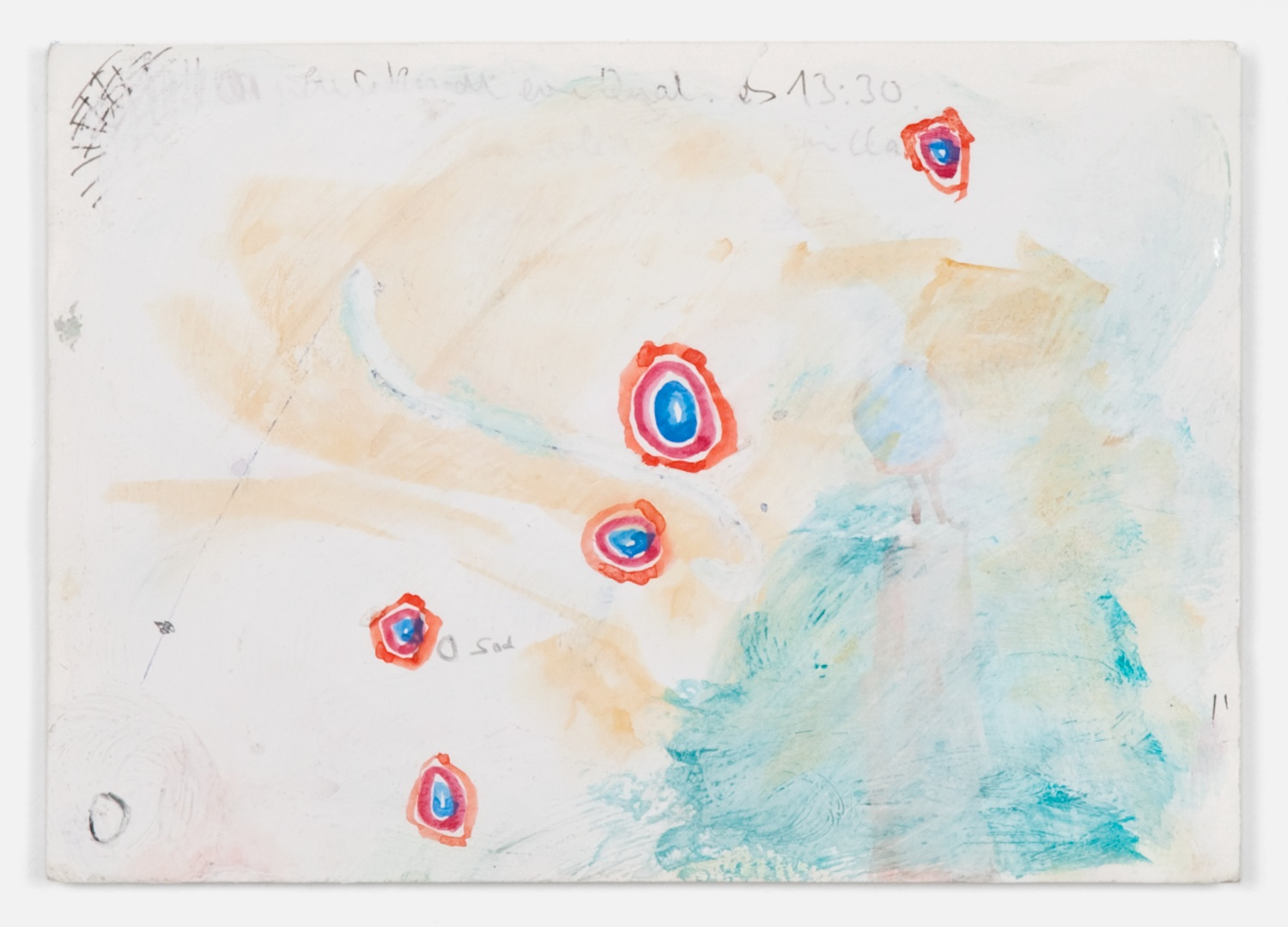Helena Huneke  Fishing for Composition  2012 Gouache, watercolor, acrylic, and ink on paper 5 ⅞h x 8 ¼w in HH001
