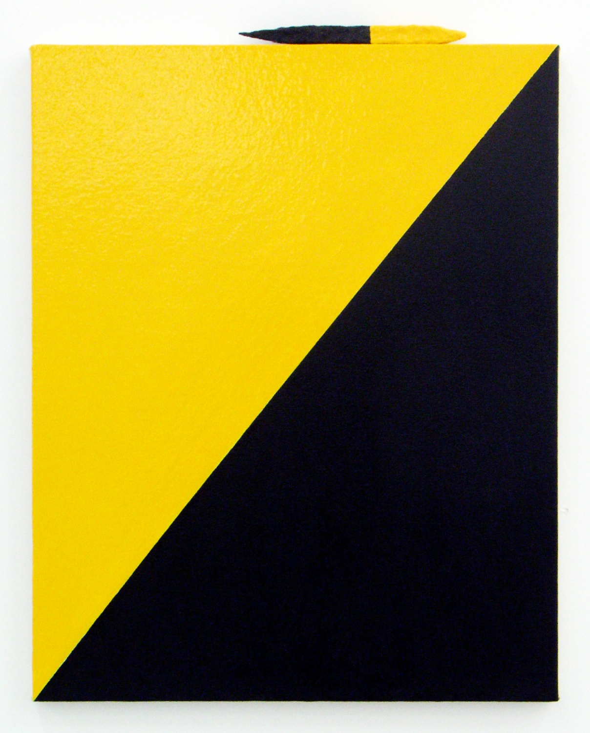 Lisa Williamson  Yellow and Black Metal  2009 Enamel and painted metal on canvas 20h x 16w in LW014