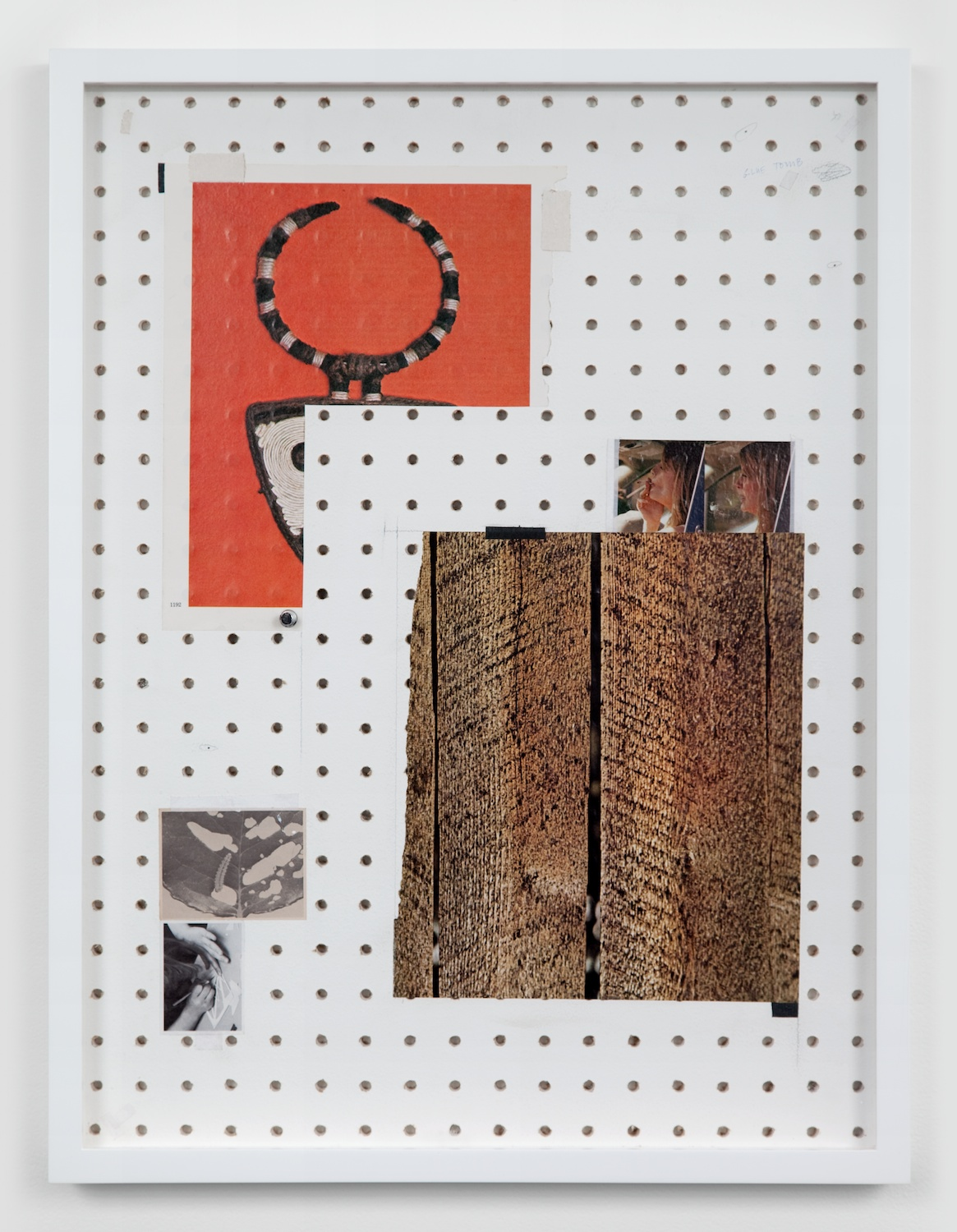 Amanda Ross-Ho  Untitled Still Life (TREES)  2011 Hand-drilled sheetrock, latex paint, graphite, ball point pen, found images, linen tape, book tape 24h x 18w in ARH003