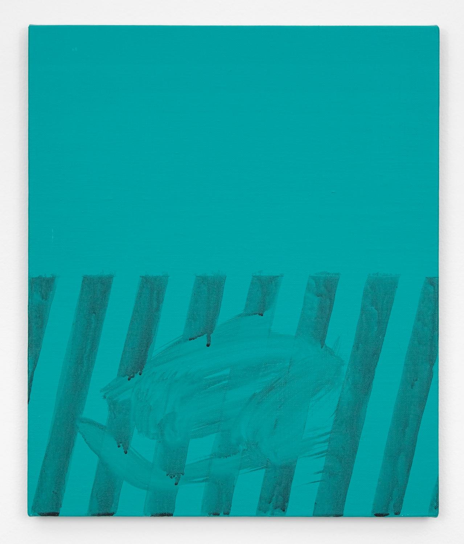Shimon Minamikawa  Green Stripe  2011 Acrylic on canvas 17 ⅞h x 15w in SMin003