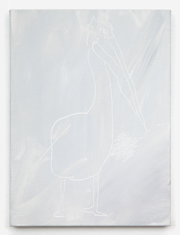 Shimon Minamikawa  Gray Gray, Pelican  2011 Acrylic on canvas 13h x 9 ⅓w in SMin001