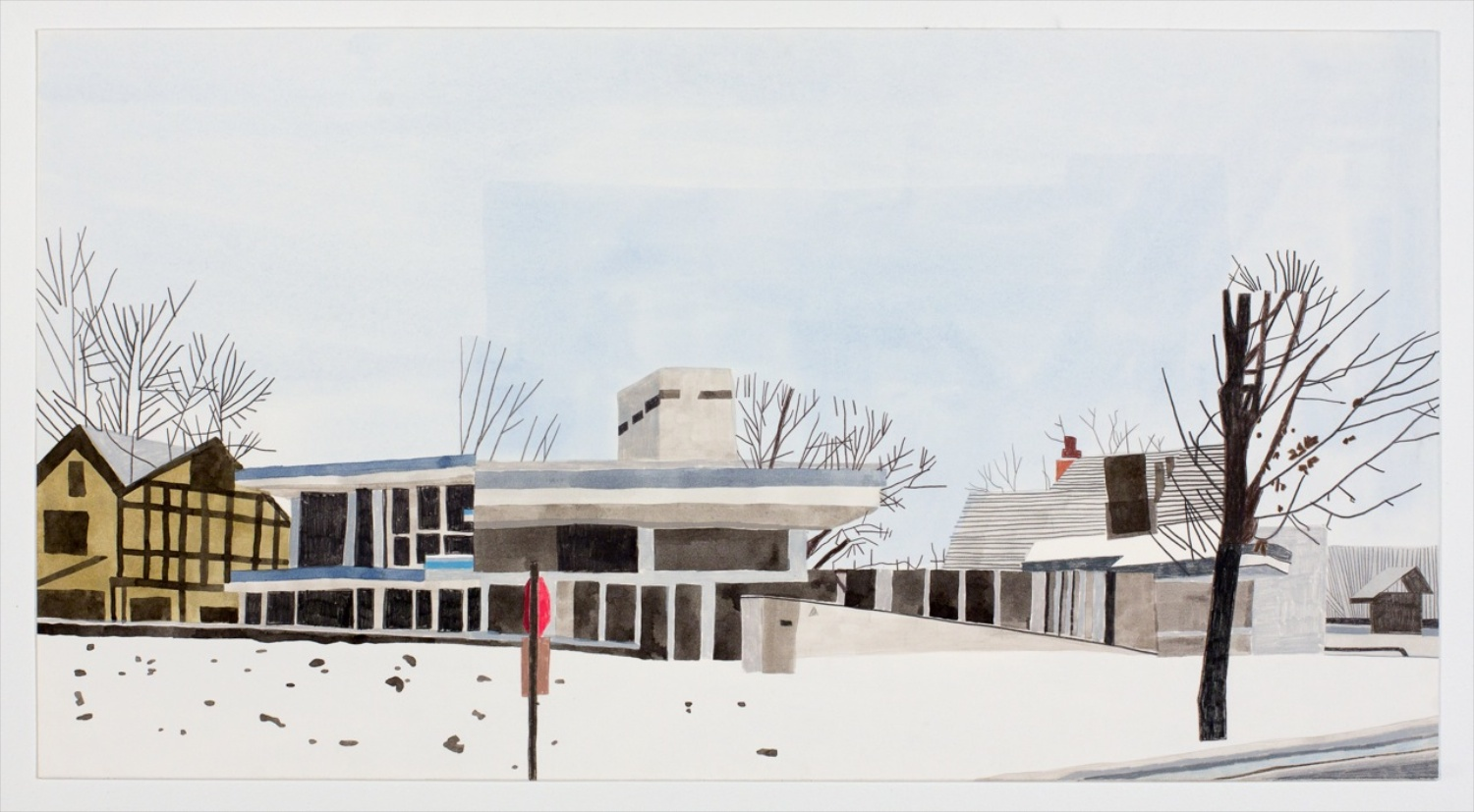 Jonas Wood  Modernist in Minnesota  2009 Gouache and colored pencil on paper 22h x 41w in JW114