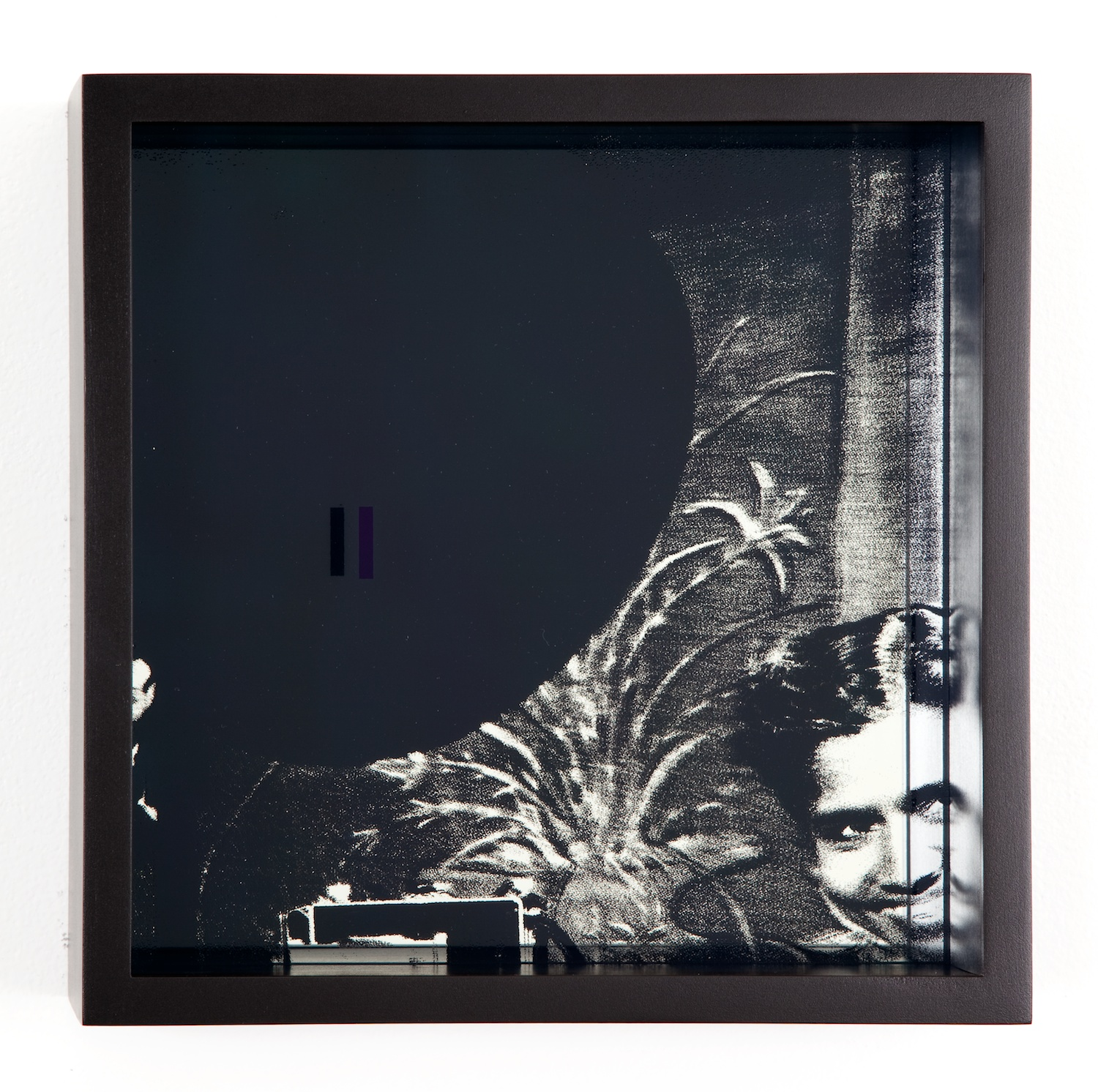 Adam Pendleton  System of Display, I (INFINITY/G.R. Naidoo, photographer Priscilla Moodley, 1960)  2011 Silkscreen on glass and mirror 9 ⅞h x 9 ⅞w x 3d in AdamP009