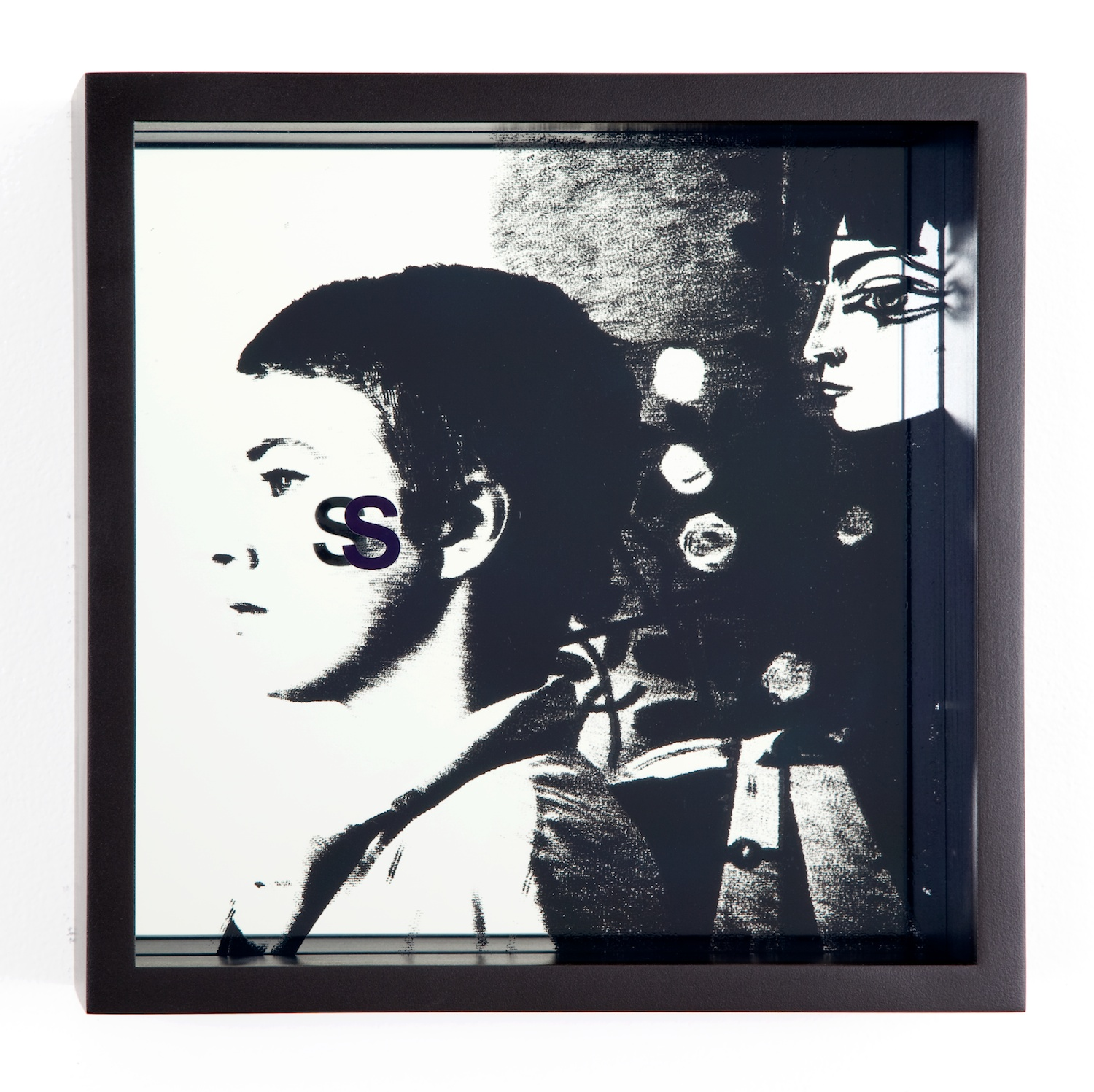 Adam Pendleton  System of Display, S (Sullied/Jean-Luc Godard, Breathless, 1960)  2011 Silkscreen on glass and mirror 9 ⅞h x 9 ⅞w x 3d in AdamP014