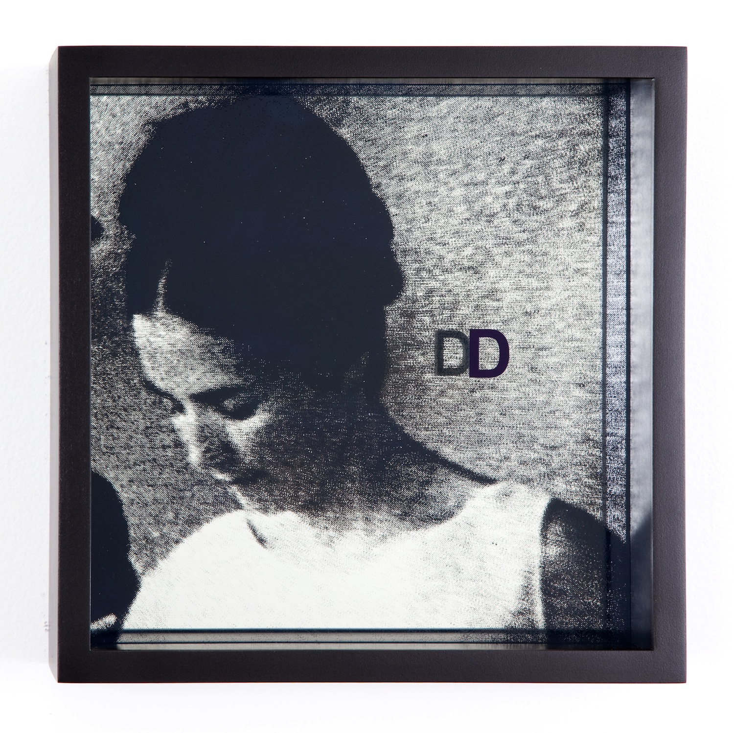Adam Pendleton  System of Display, D (AROUND/Jean-Marie Straub, Not Reconciled, Or Only Violence helps where violence rules, 1965)  2011 Silkscreen on glass and mirror 9 ⅞h x 9 ⅞w x 3d in AdamP007