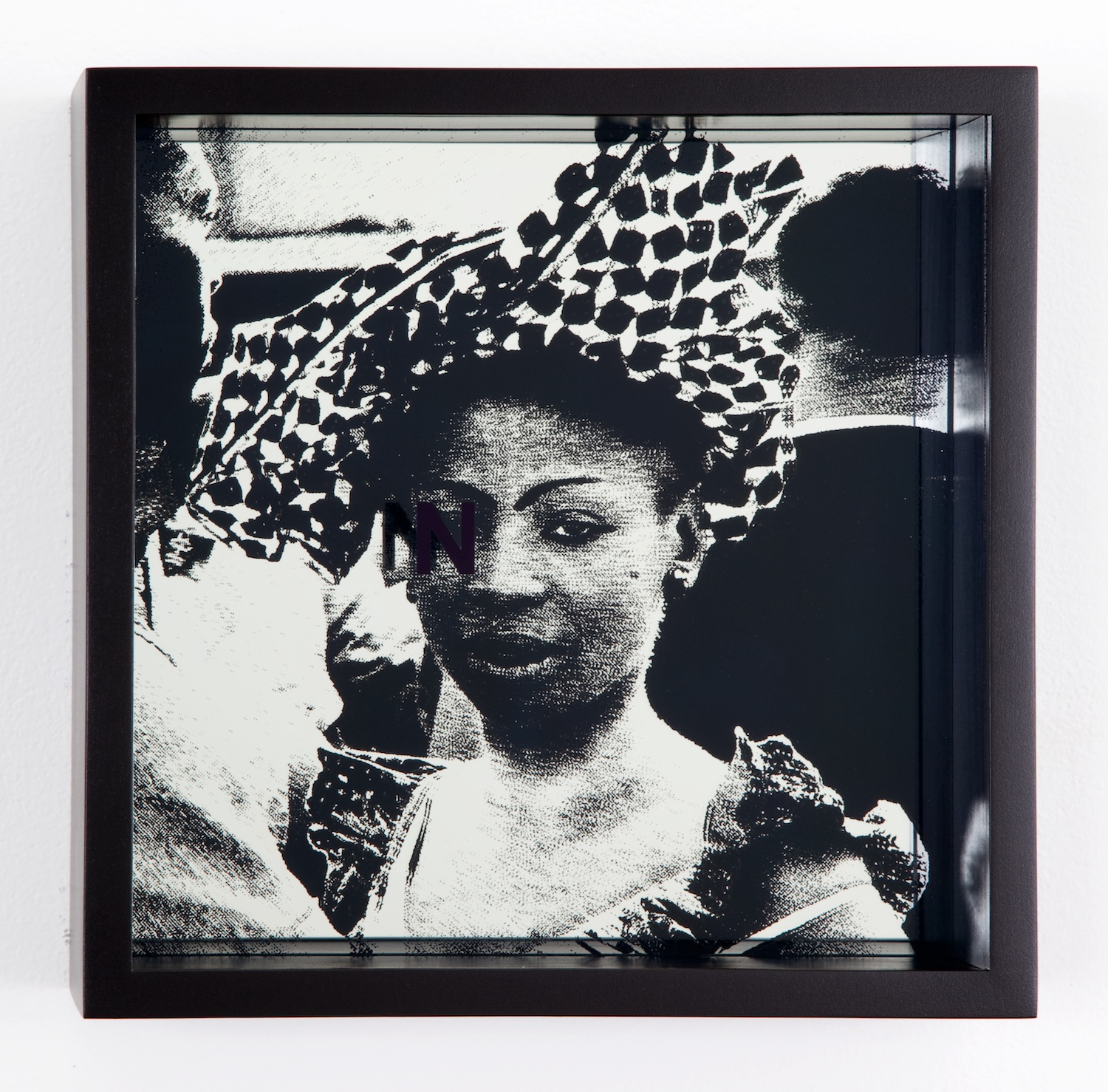 Adam Pendleton  System of Display, N (ANCIENT/Ian Berry, couple dancing during independence celebration Congo, 1960)  2011 Silkscreen on glass and mirror 9 ⅞h x 9 ⅞w x 3d in AdamP013