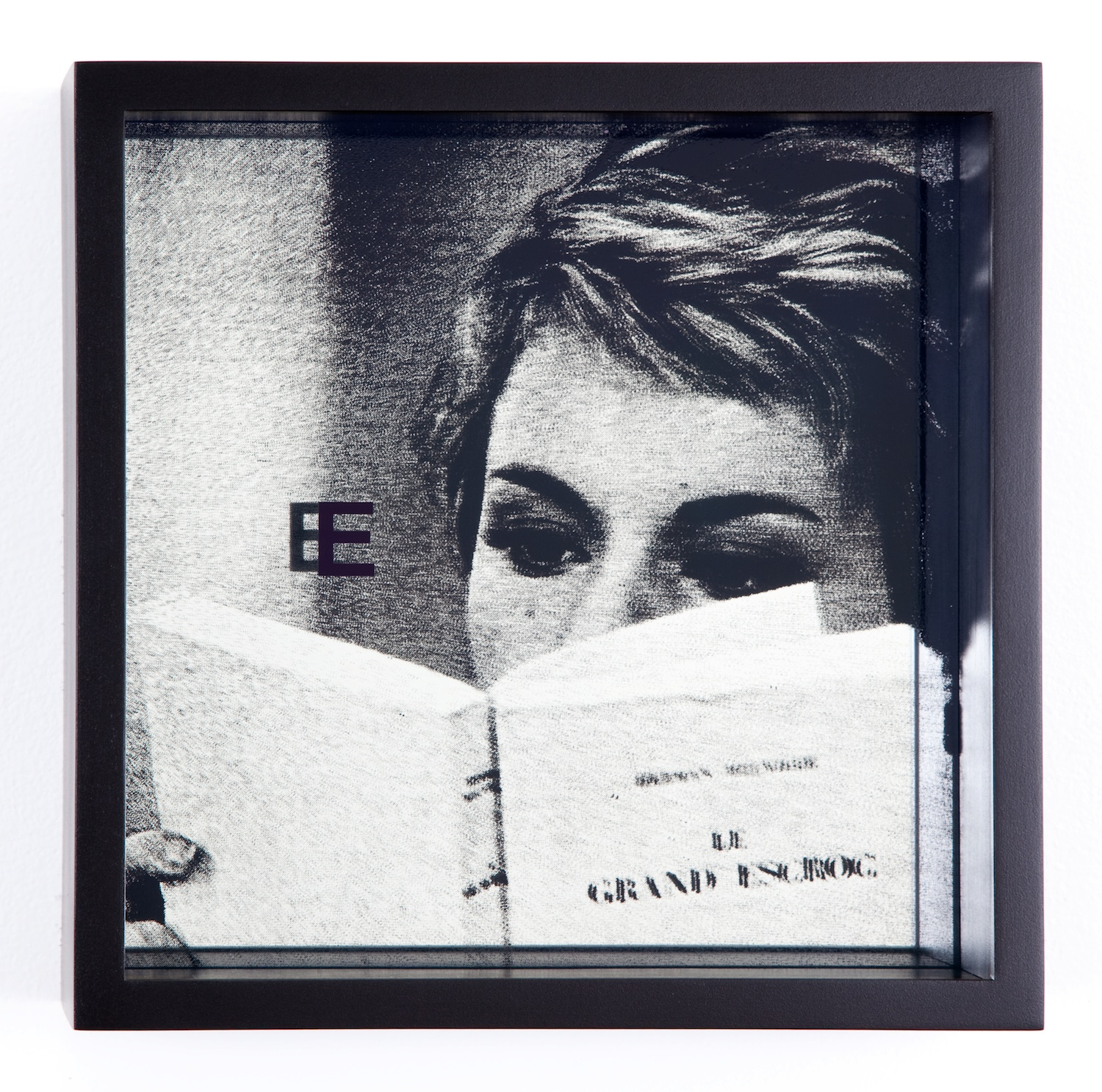 Adam Pendleton  System of Display, E (ETERNAL/Against/Jean-Luc Godard, Le Grand Escroc, episode from Les Plus Belles Escroqeries du Monde, 1964)  2011 Silkscreen on glass and mirror 9 ⅞h x 9 ⅞w x 3d in AdamP012