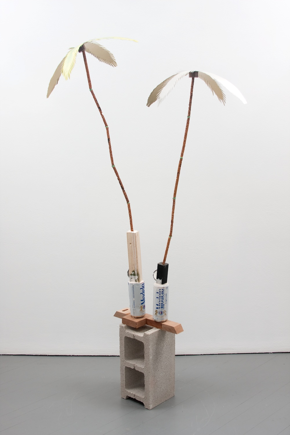 Chris Bradley  Havana  2011 Aluminum, paint, beer cans, aqua resin, wood, concrete block, chewing gum 68 ½h x 26w x 19d in CB002