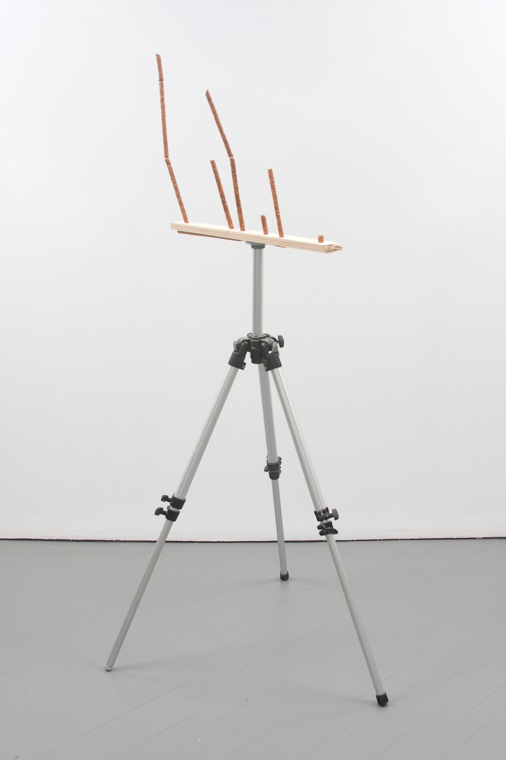 Chris Bradley  Target #5  2011 Painted cast bronze, wood, tripod, glue 37h x 9w x 13d in CB005
