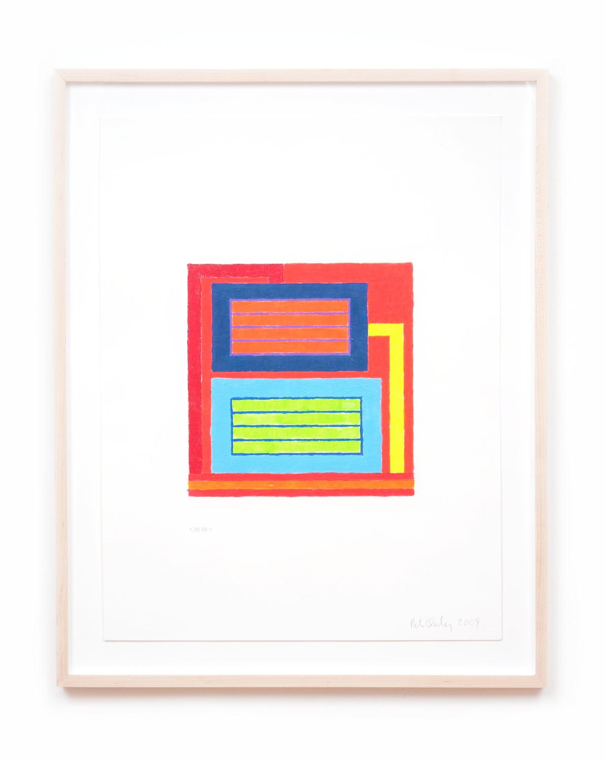 Peter Halley  Untitled  2009 Acrylic and Day-glo acrylic on computer-printed paper 21h x 16w in PH003