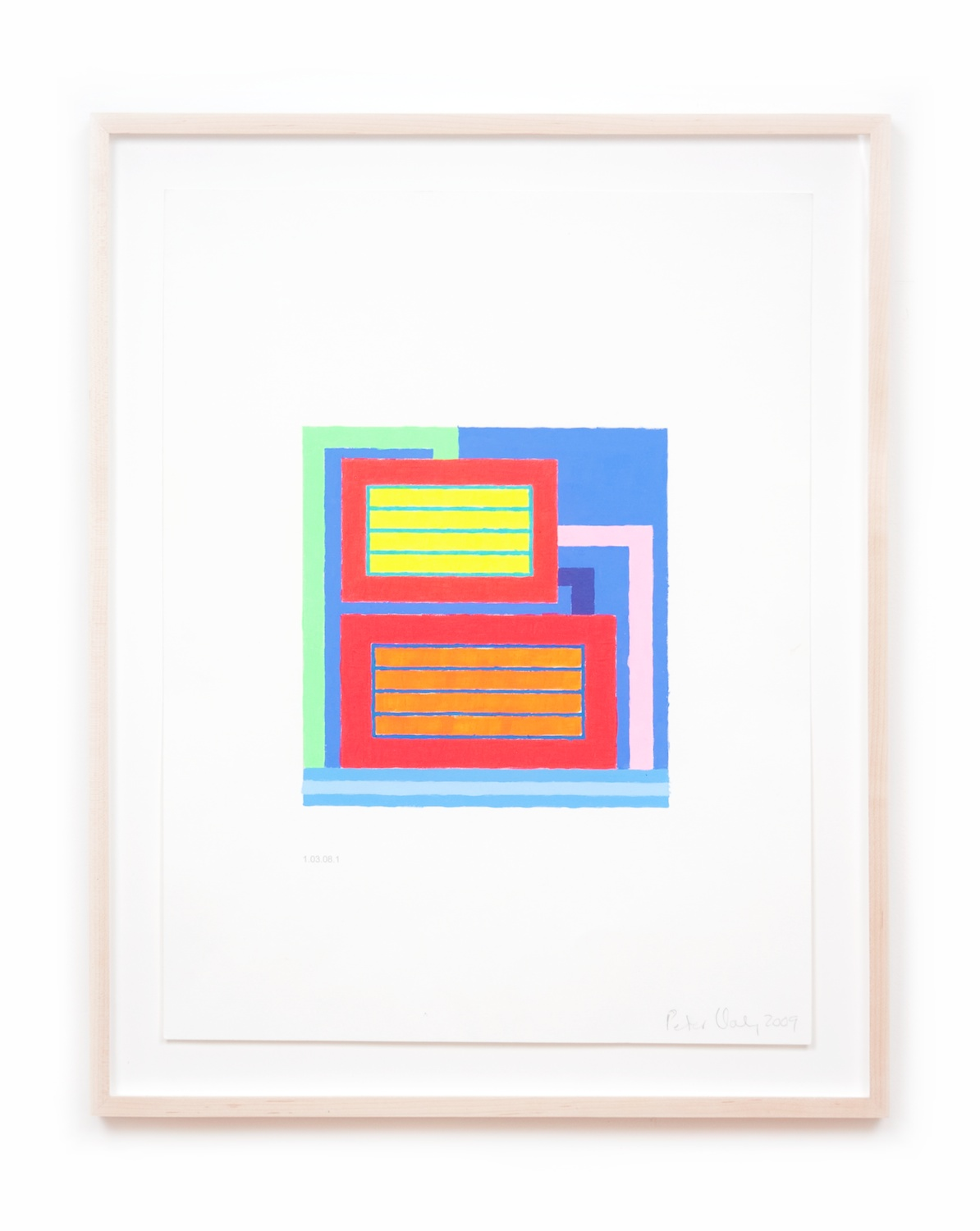 Peter Halley  Untitled  2009 Acrylic and Day-glo acrylic on computer-printed paper 21h x 16w in PH002