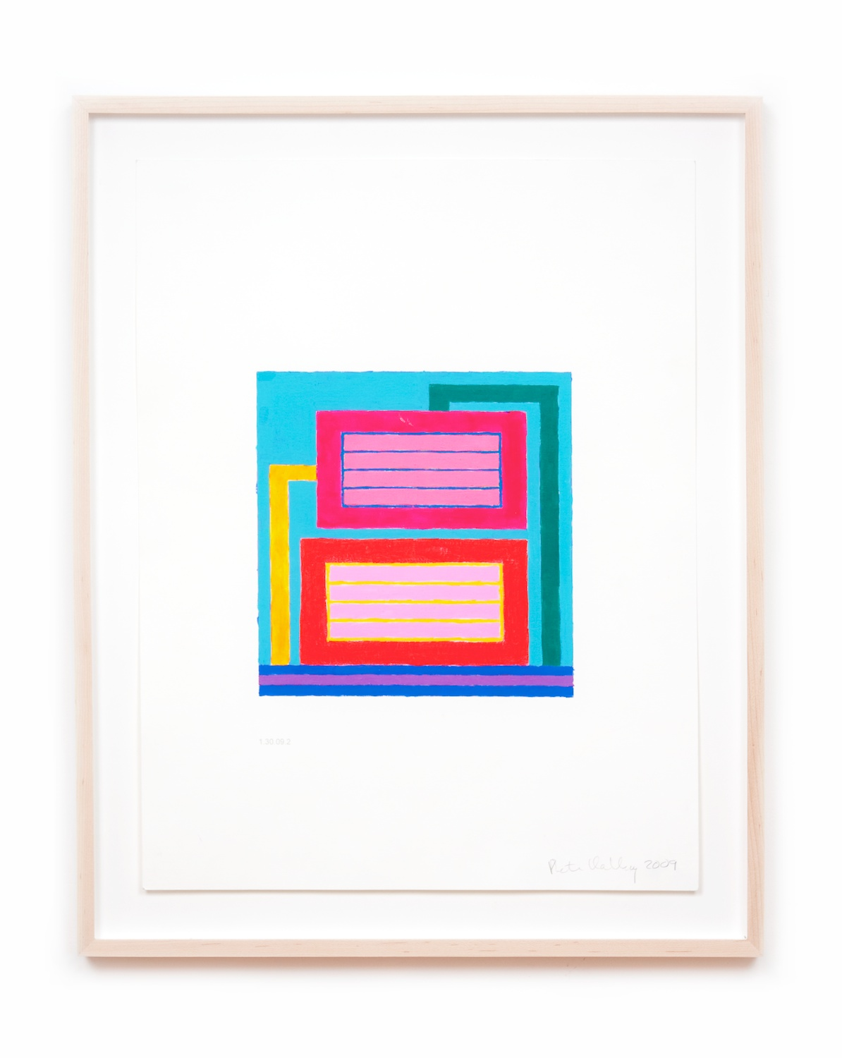 Peter Halley  Untitled  2009 Acrylic and Day-glo acrylic on computer-printed paper 21h x 16w in PH001