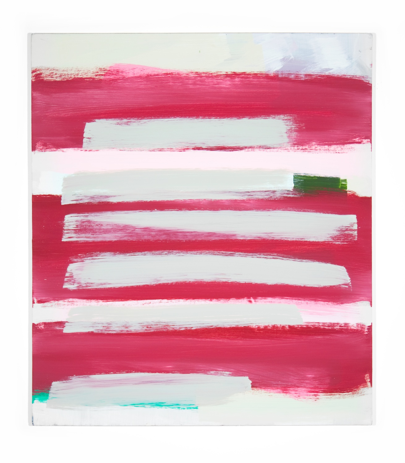 Jon Pestoni  Pink and green widths  2010 Oil on canvas on panel 41 ¼h x 32w in JP028
