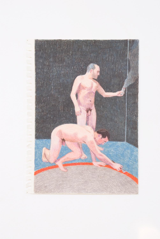 Elijah Burgher  Preparing a ritual space  2009 Colored pencil on paper 12h x 8w in EB004